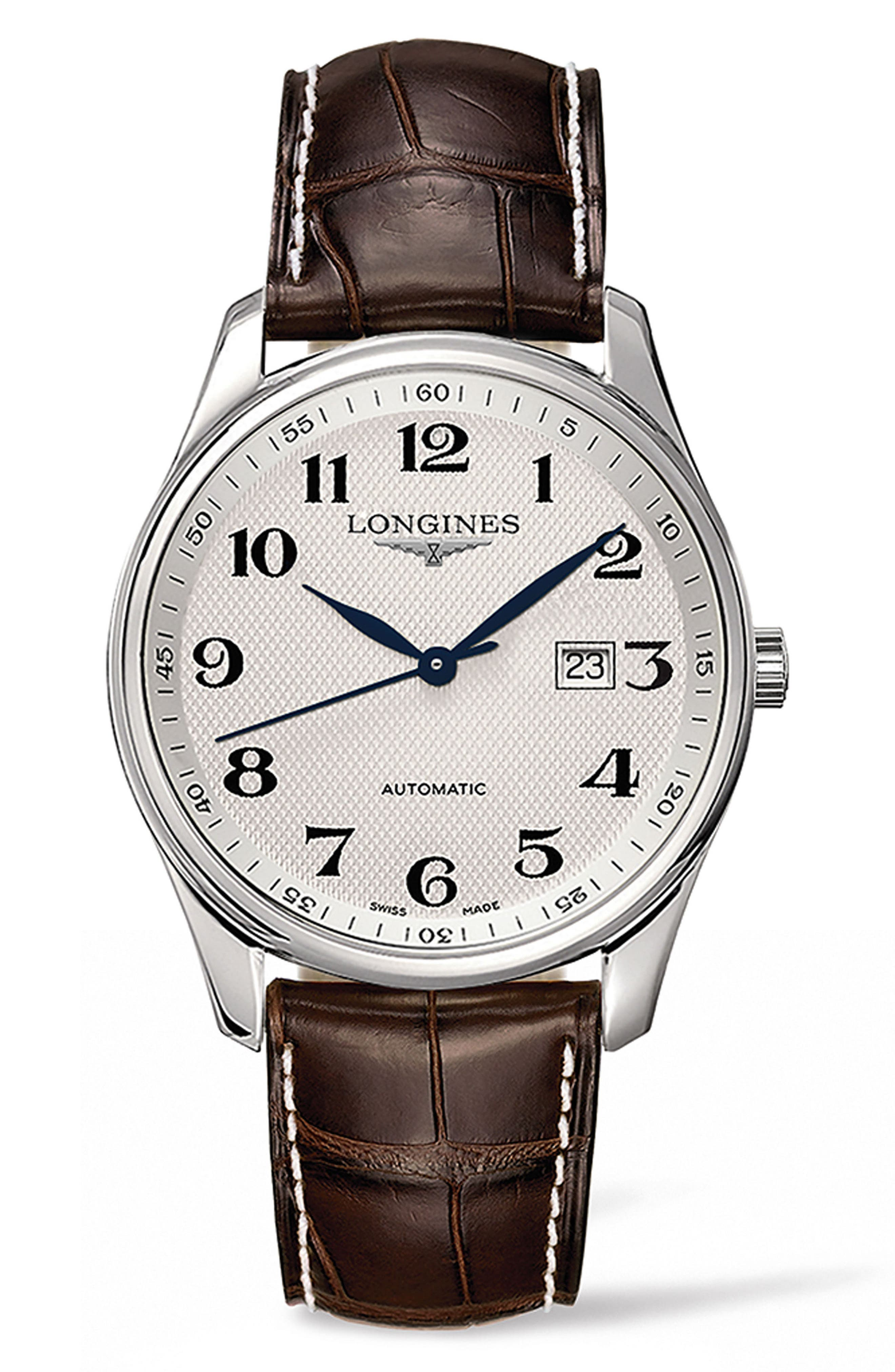 LONGINES, Master Automatic Leather Strap Watch, 42mm, Main thumbnail 1, color, BROWN/ SILVER