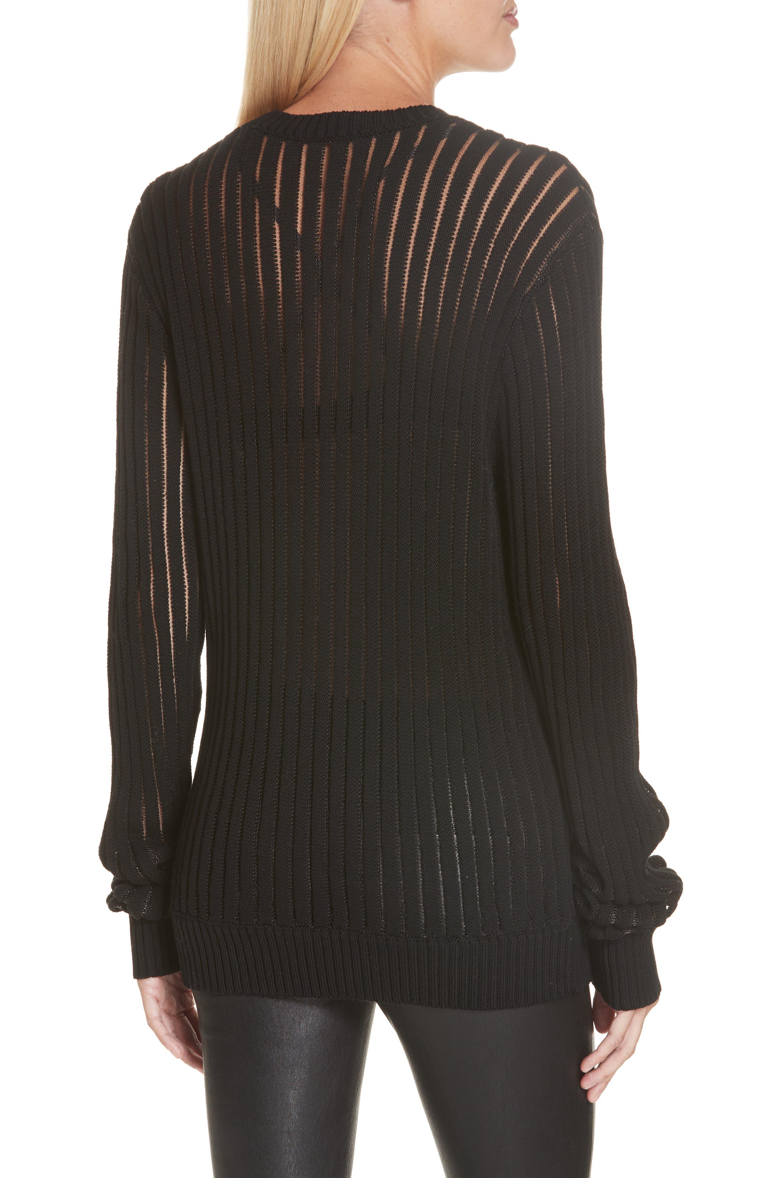 HELMUT LANG, Sheer Stripe Sweater, Alternate thumbnail 2, color, 001
