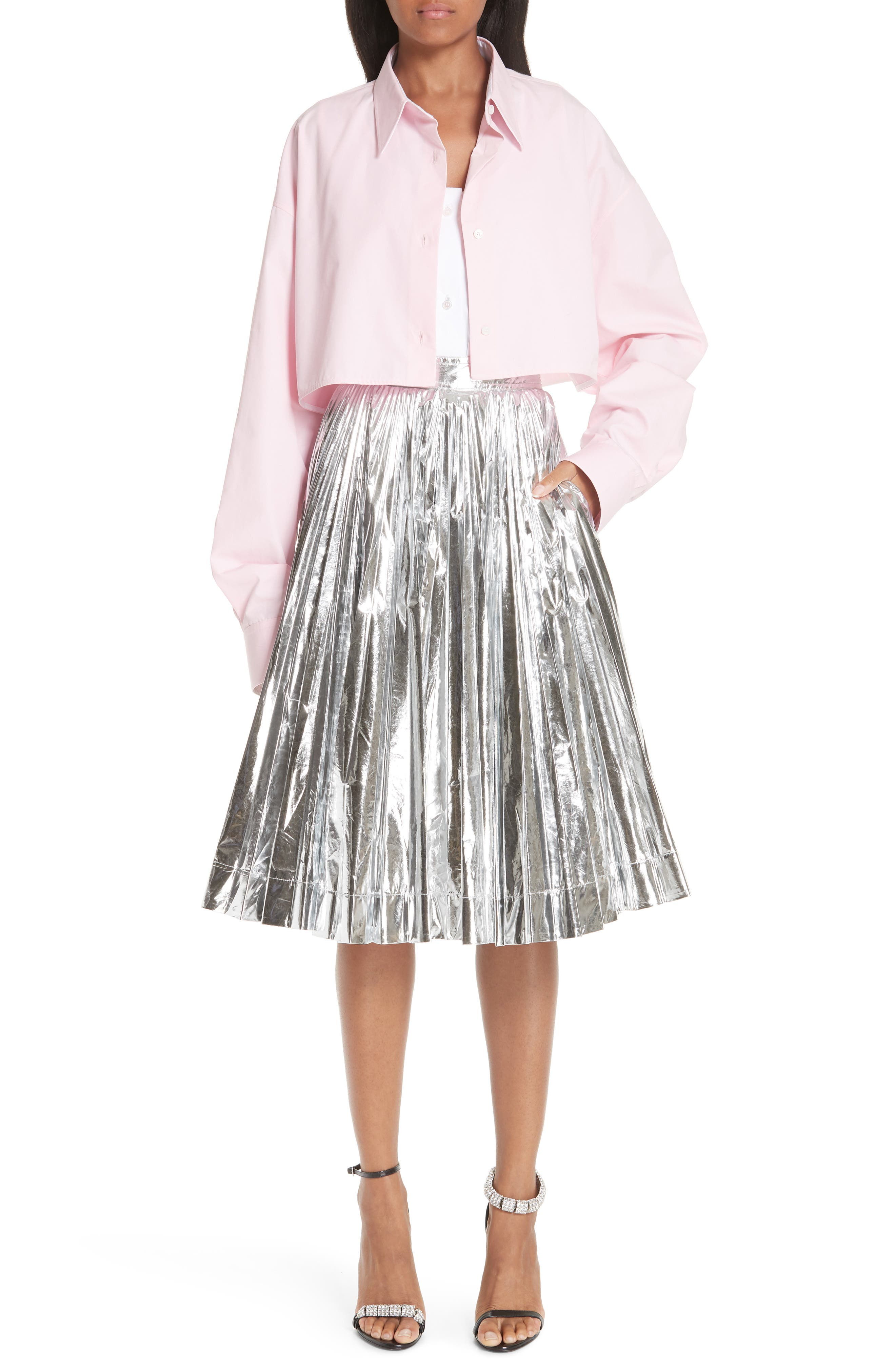 CALVIN KLEIN 205W39NYC, Layered Cotton Poplin Shirt, Alternate thumbnail 2, color, ROSE OPTIC WHITE