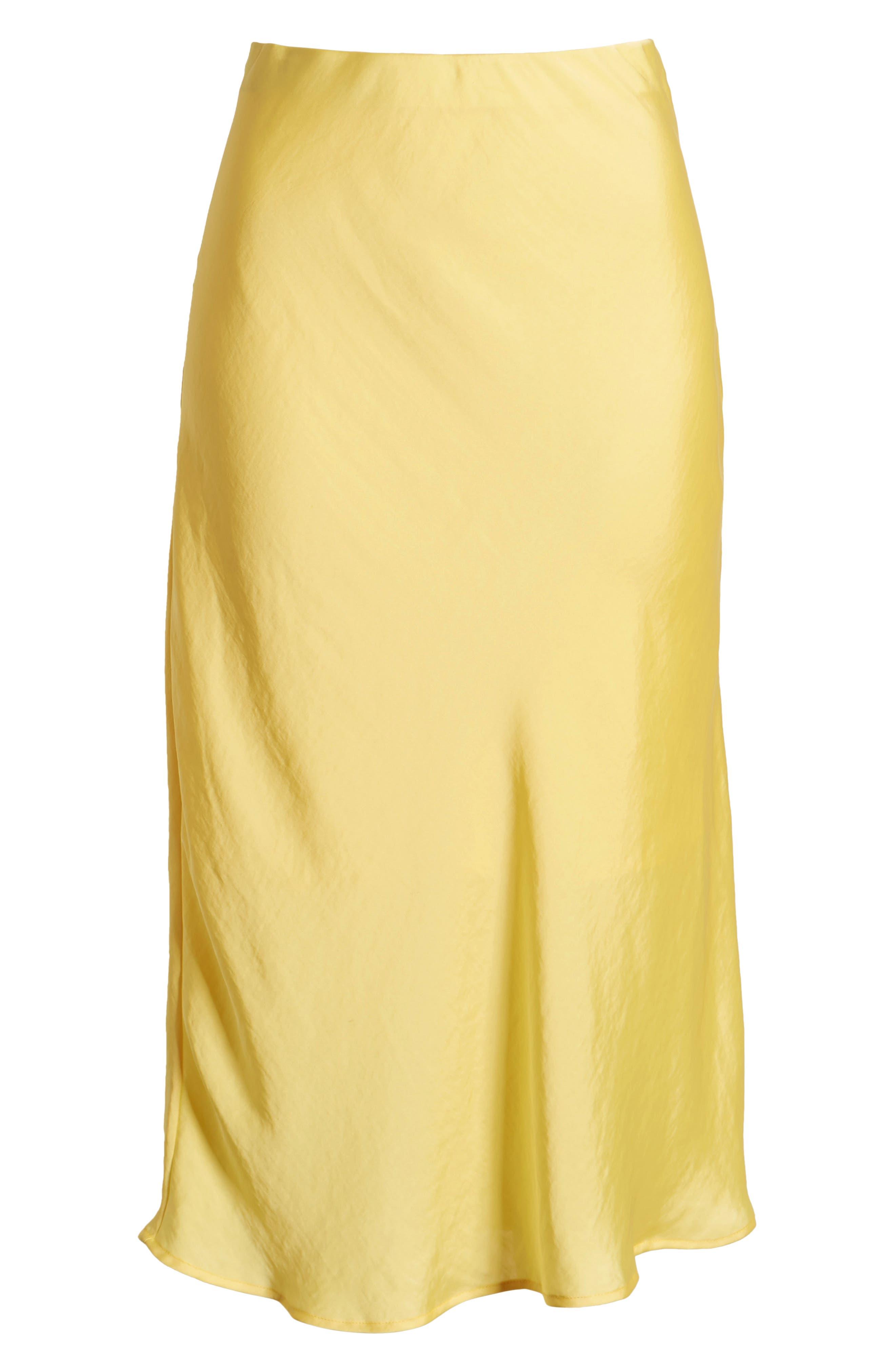 LEITH, Satin Midi Skirt, Alternate thumbnail 6, color, YELLOW MERINGUE