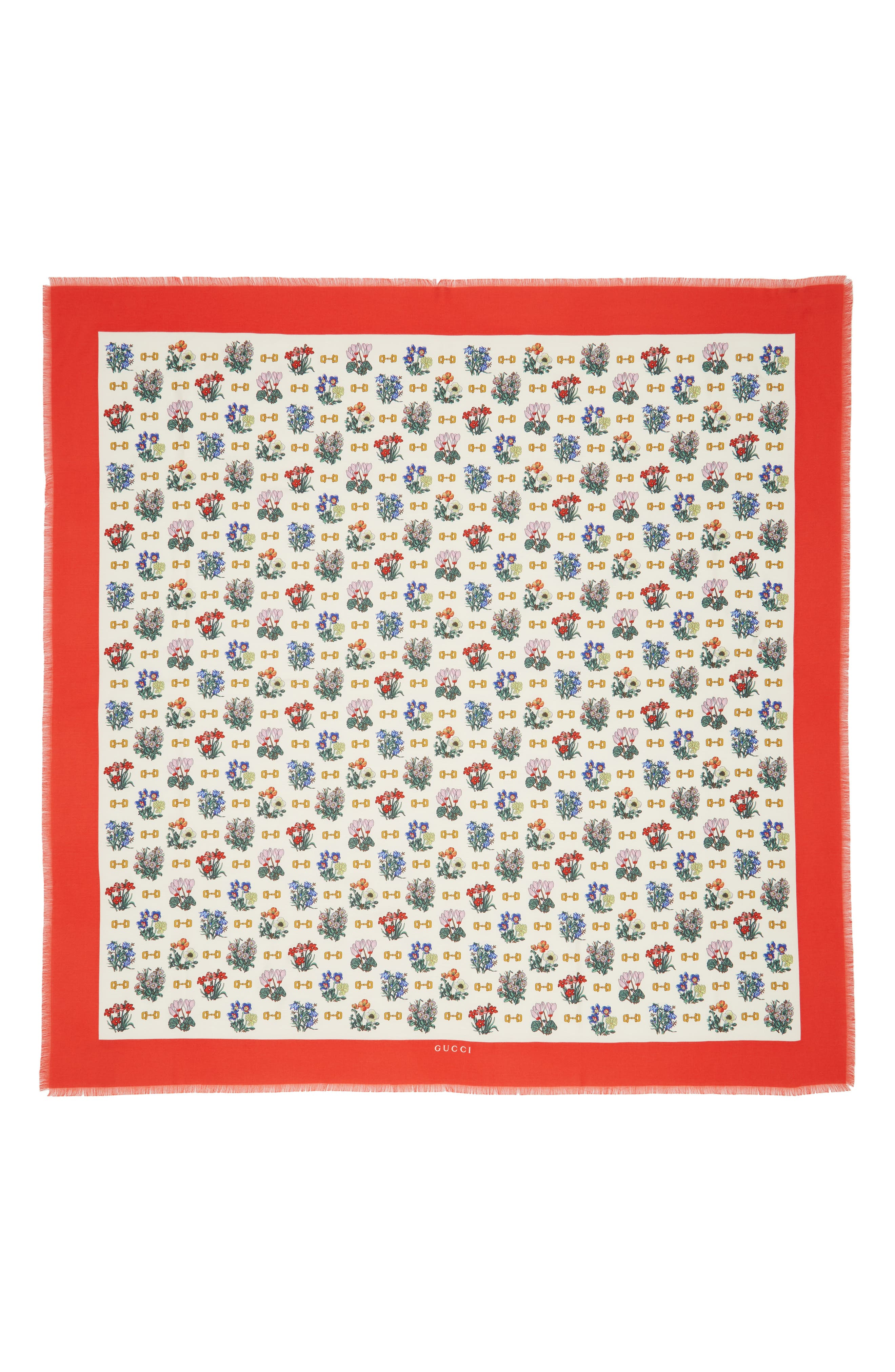GUCCI, Light Cyclamen Cashmere & Silk Scarf, Main thumbnail 1, color, IVORY/ RED