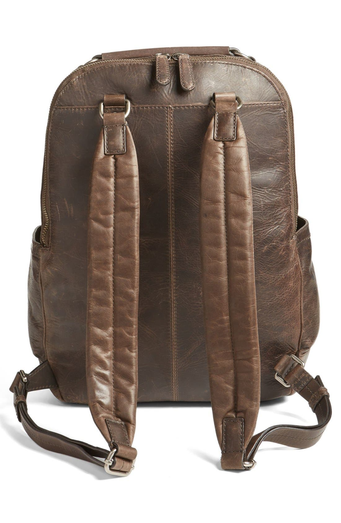 FRYE, 'Logan' Leather Backpack, Alternate thumbnail 4, color, SLATE