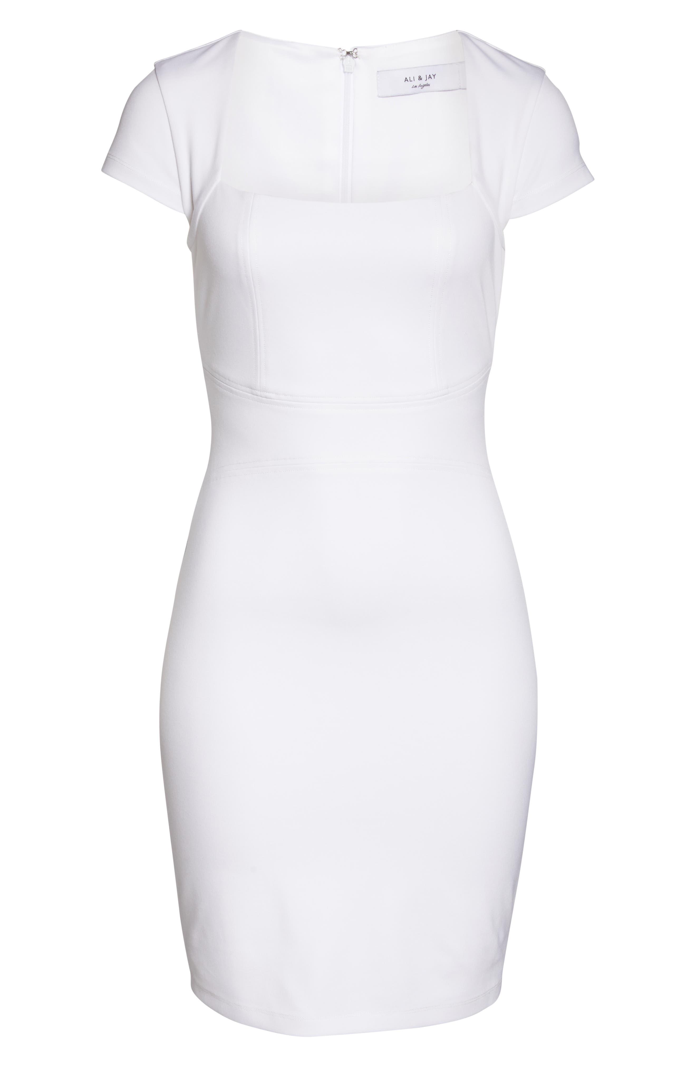 ALI & JAY, Olive Street Body-Con Dress, Alternate thumbnail 7, color, WHITE