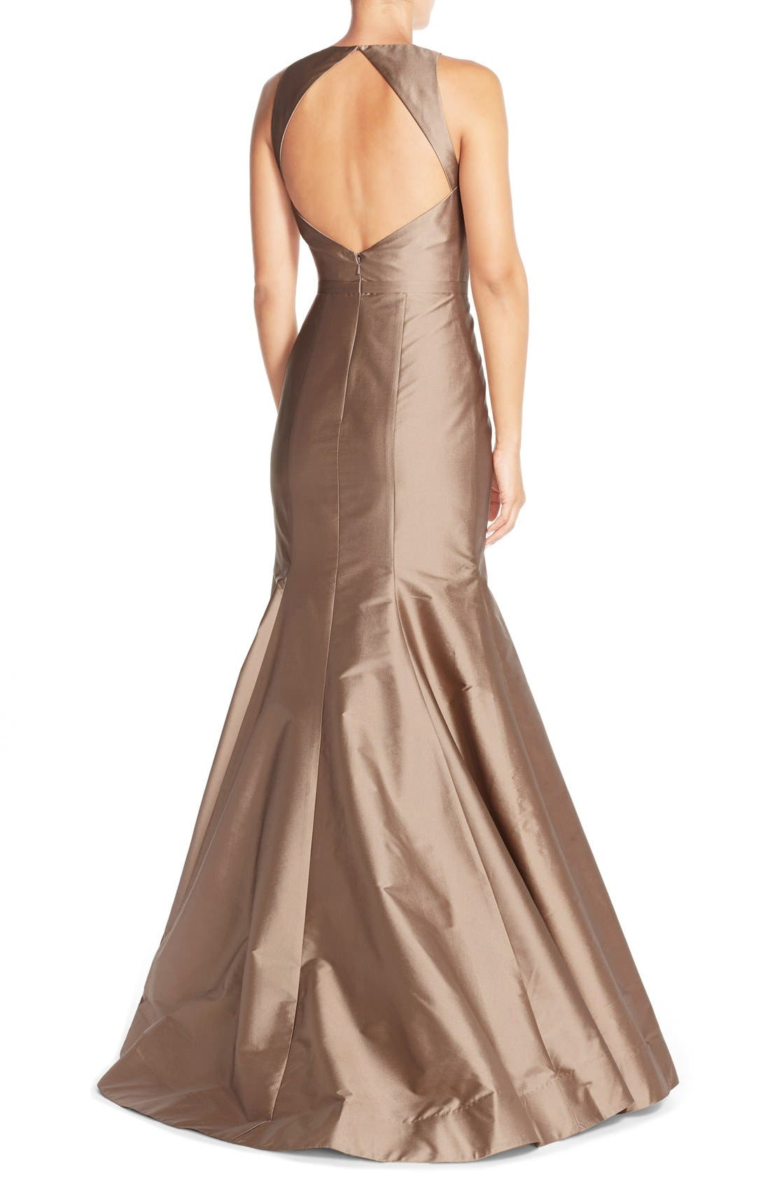MONIQUE LHUILLIER BRIDESMAIDS, Back Cutout Taffeta Mermaid Gown, Alternate thumbnail 2, color, 909