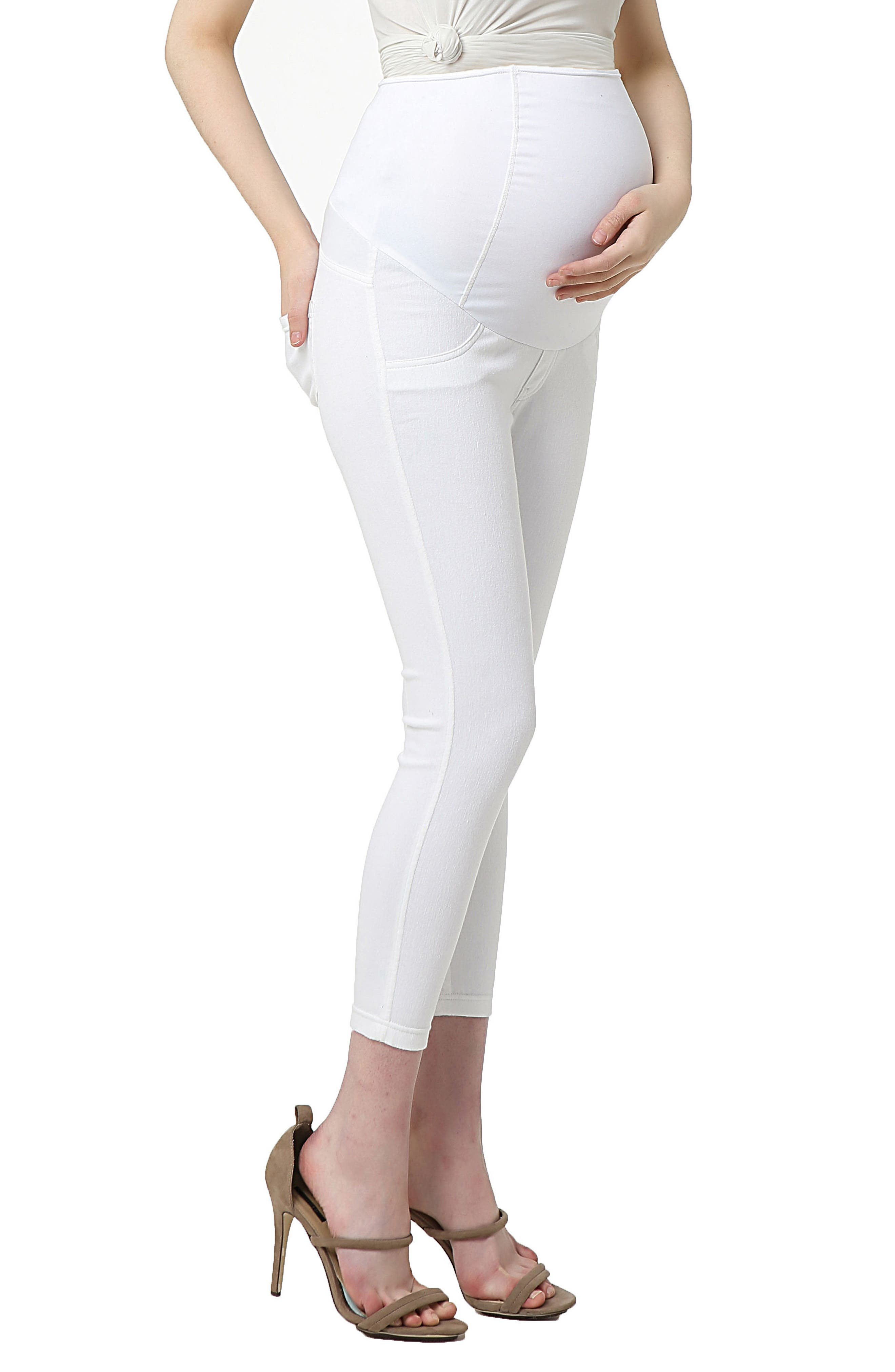 KIMI AND KAI, Tia Cropped Denim Maternity Leggings, Alternate thumbnail 3, color, WHITE