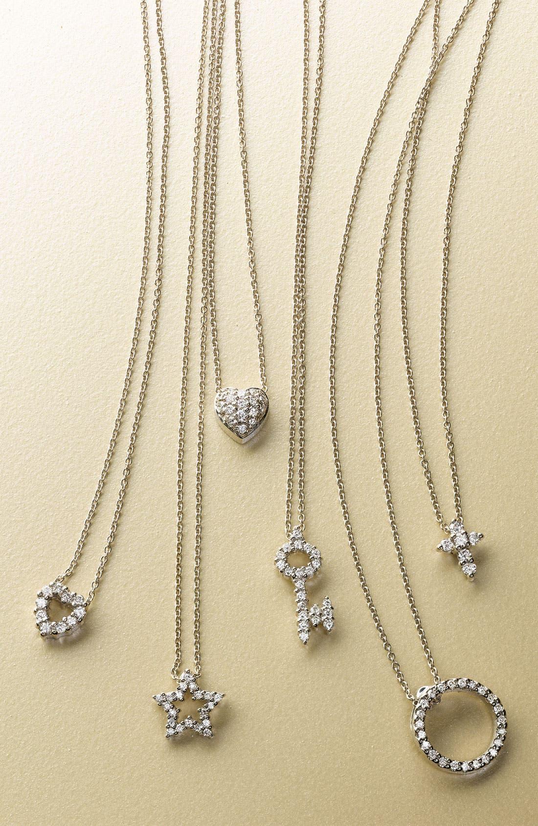 ROBERTO COIN, 'Tiny Treasures' Diamond Cross Pendant Necklace, Alternate thumbnail 3, color, WGO
