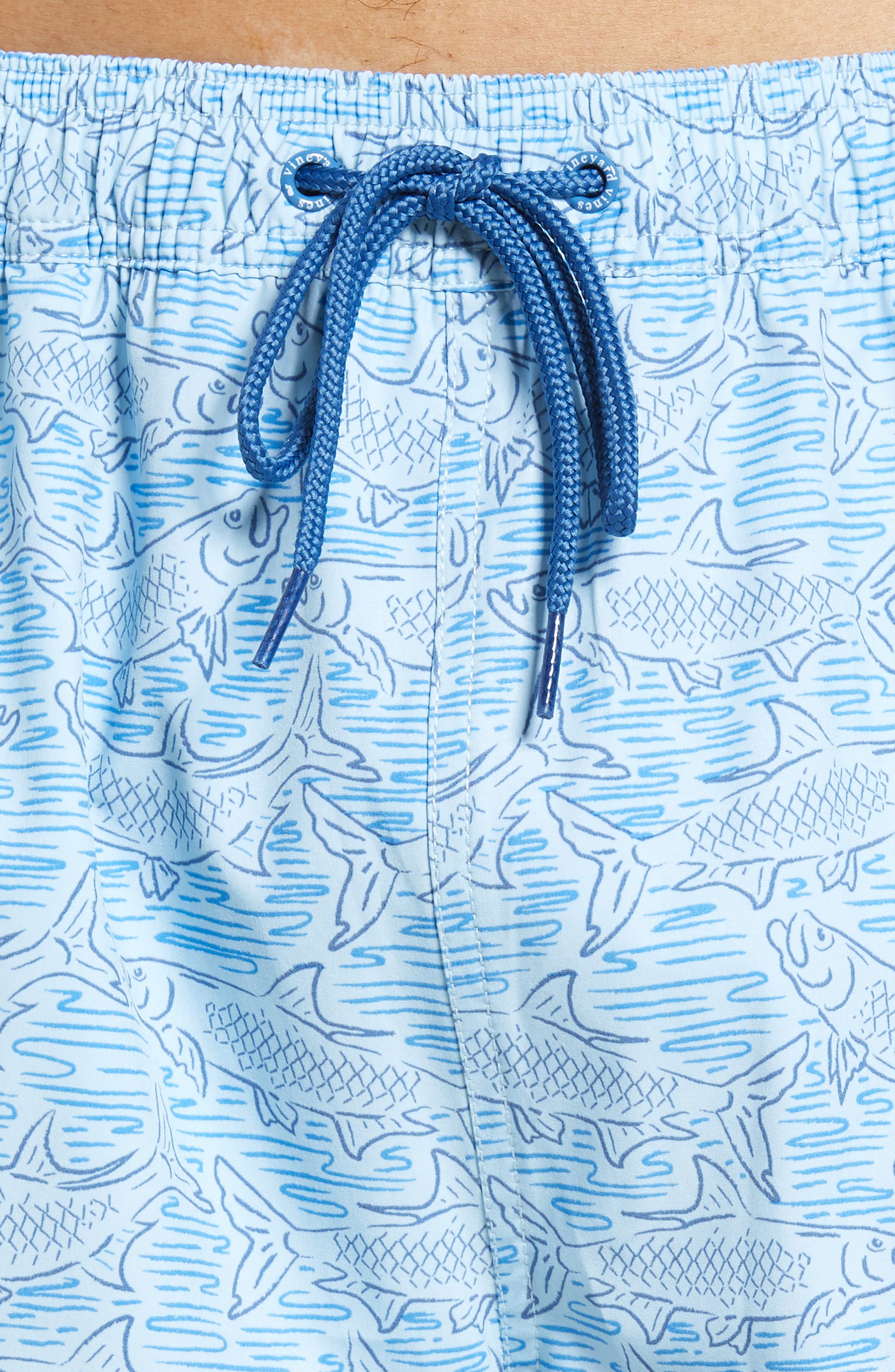 VINEYARD VINES, Chappy Tarpon Stretch Swim Trunks, Alternate thumbnail 4, color, JAKE BLUE