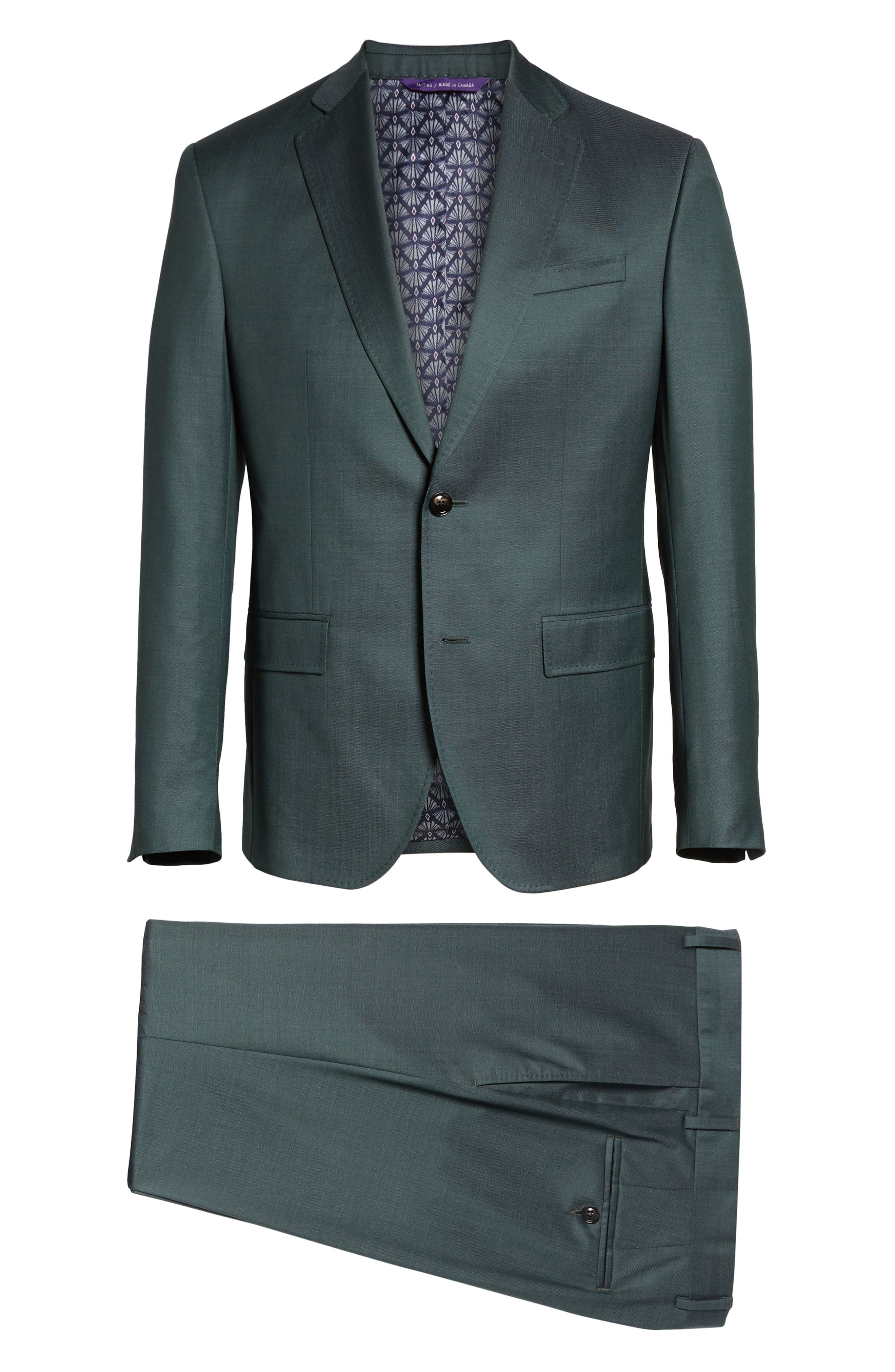 TED BAKER LONDON, Roger Slim Fit Solid Wool Suit, Alternate thumbnail 8, color, GREEN