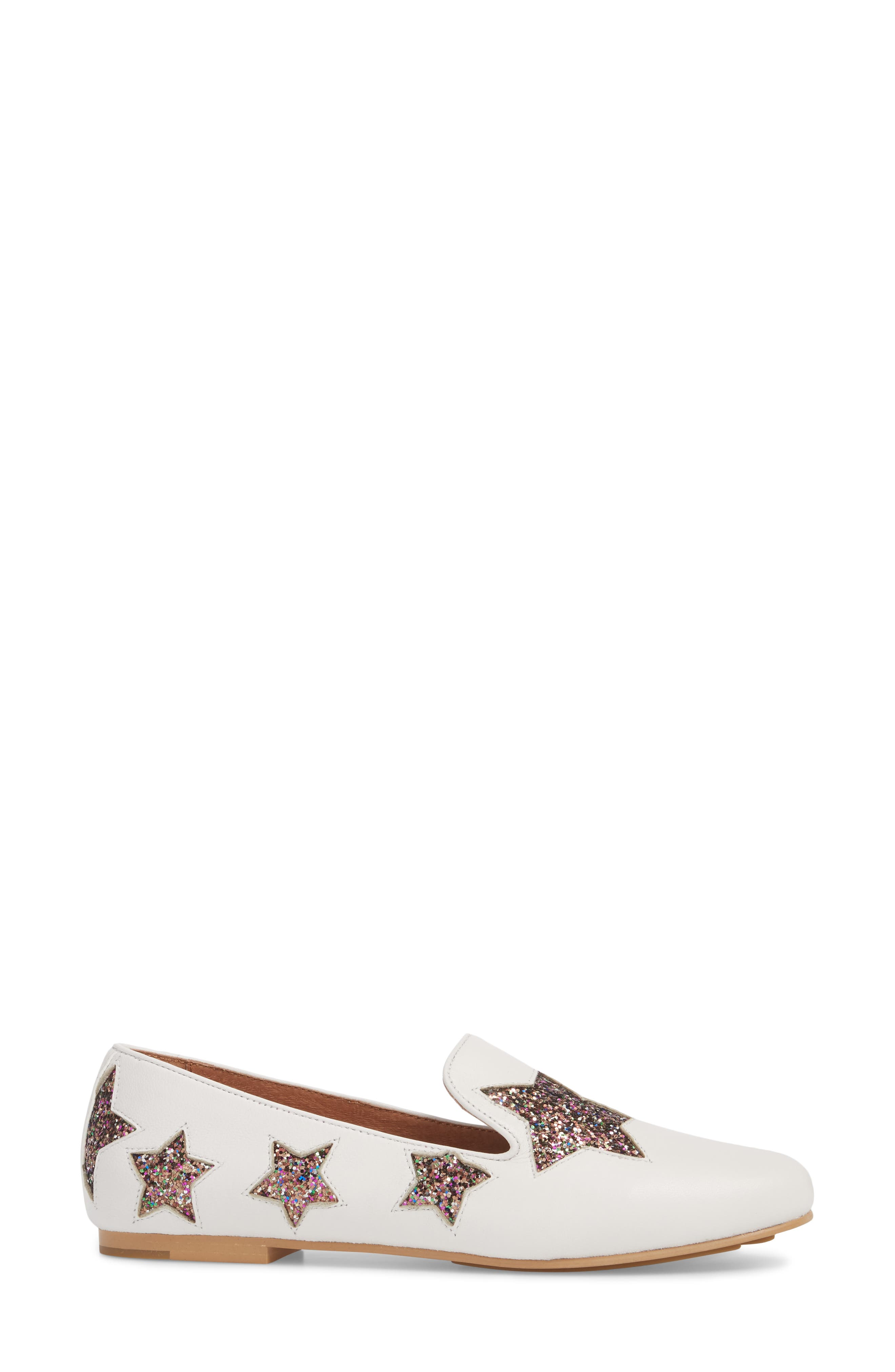 GENTLE SOULS BY KENNETH COLE, Eugene Stars Flat, Alternate thumbnail 3, color, WHITE STARS LEATHER
