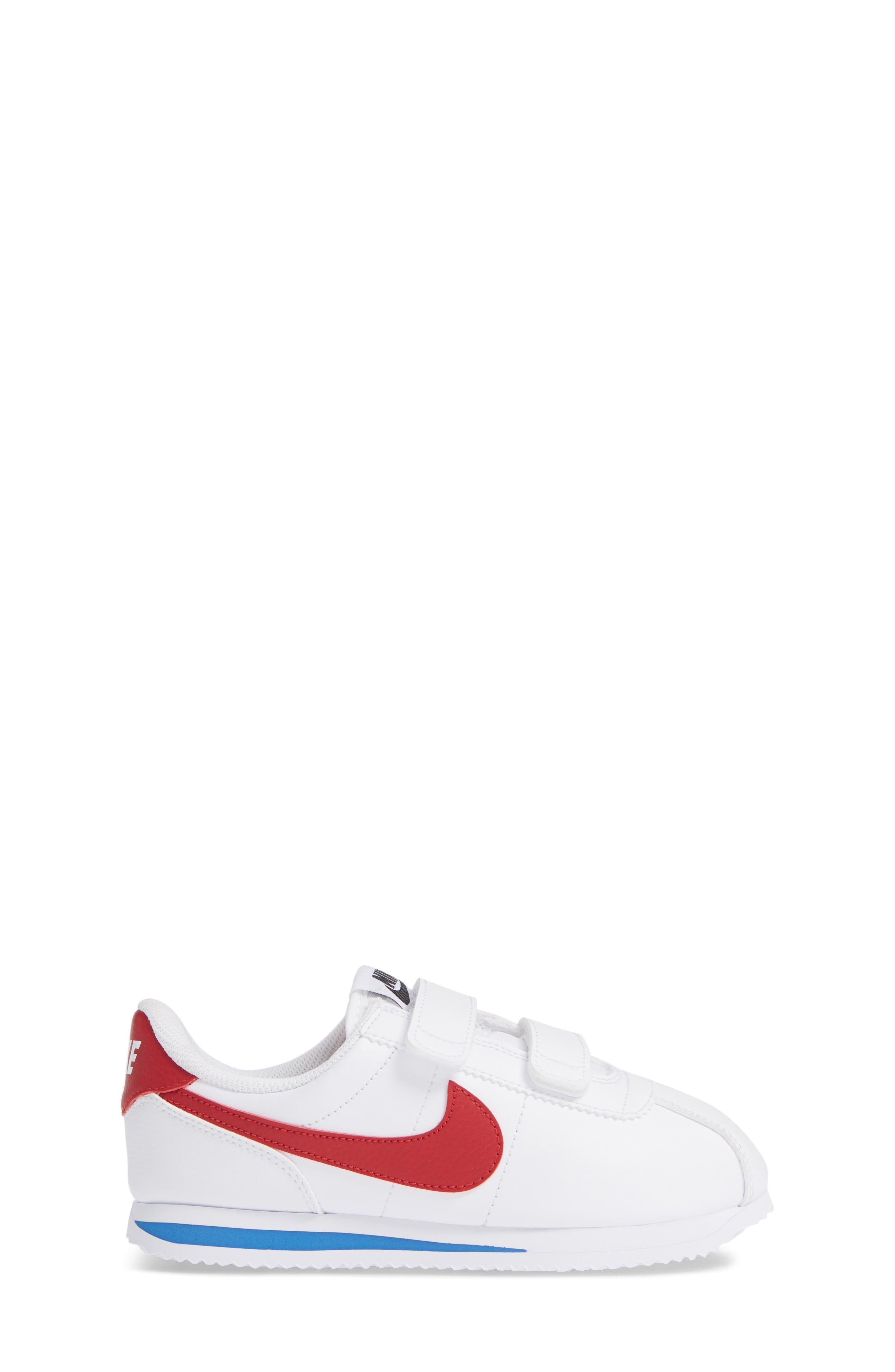 NIKE, Cortez Basic SL Sneaker, Alternate thumbnail 3, color, WHITE/ VARSITY RED/ BLACK