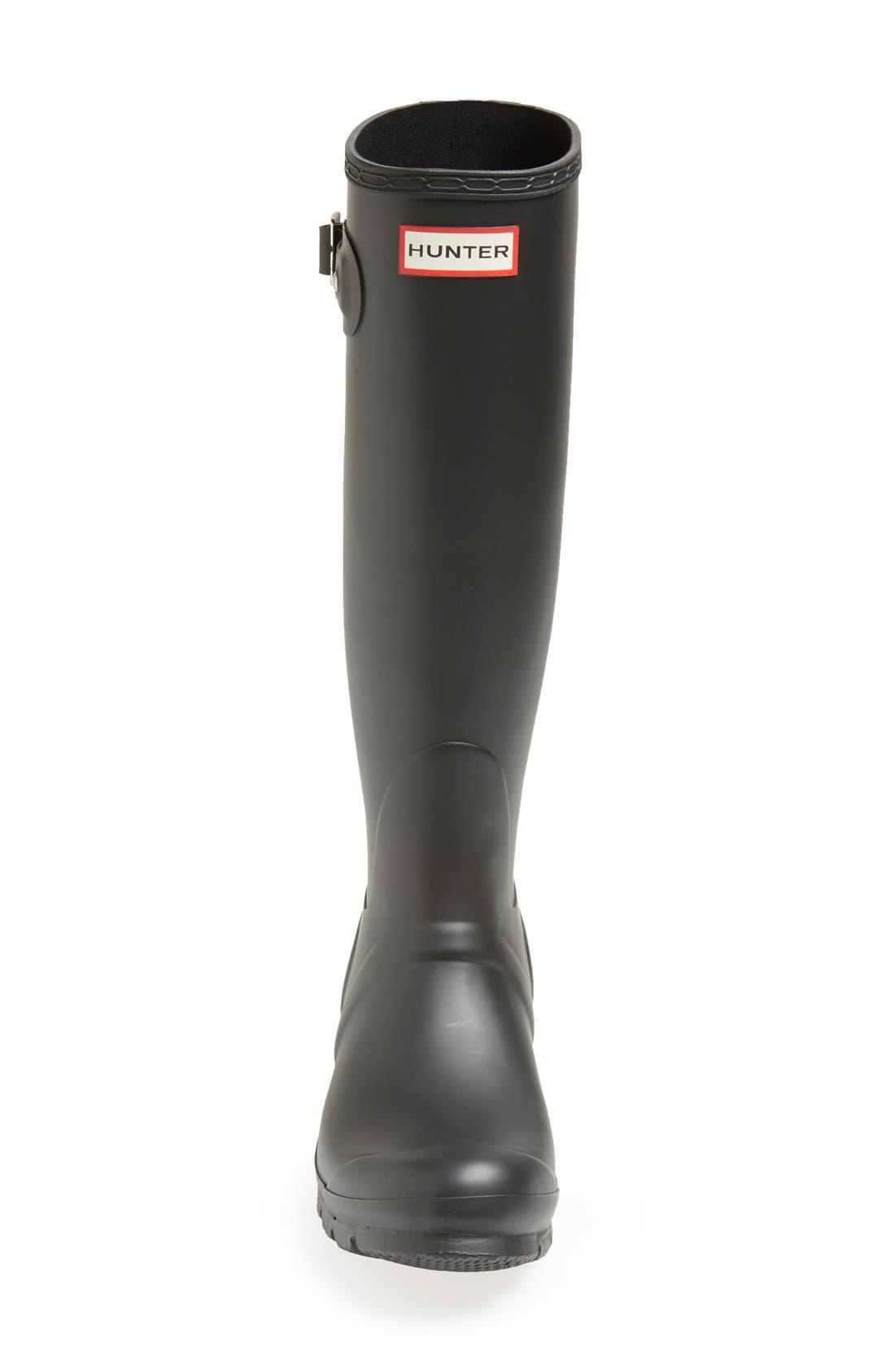 HUNTER, Original Tall Waterproof Rain Boot, Alternate thumbnail 3, color, BLACK MATTE