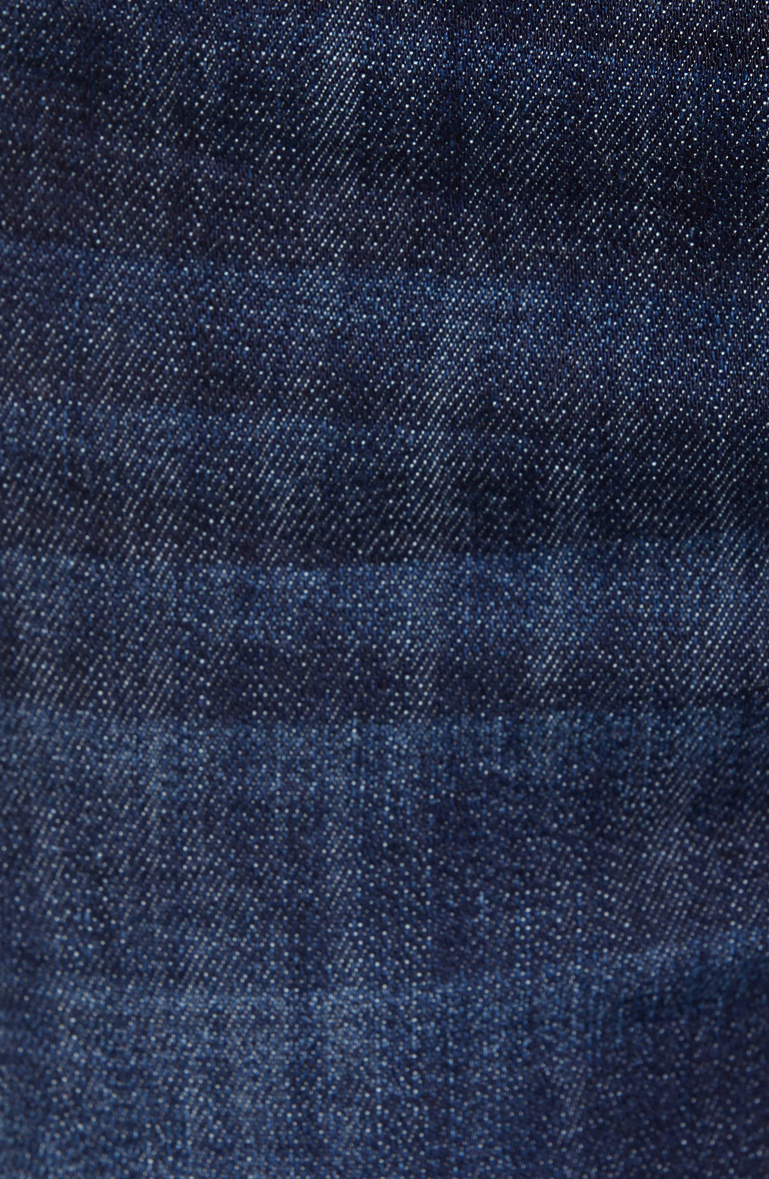 PROSPERITY DENIM, Contrast Stitch Skinny Jeans, Alternate thumbnail 5, color, DARK WASH