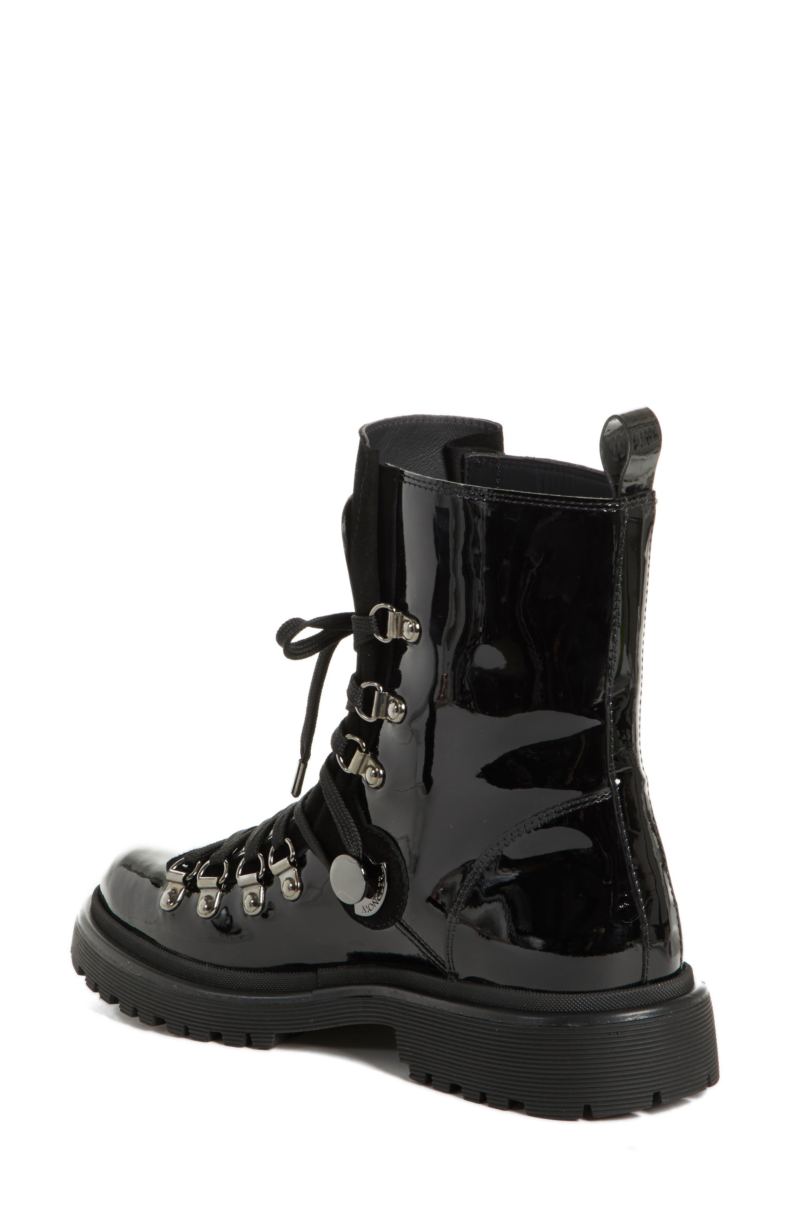 MONCLER, Berenice Stivale Lace-Up Boot, Alternate thumbnail 2, color, BLACK PATENT