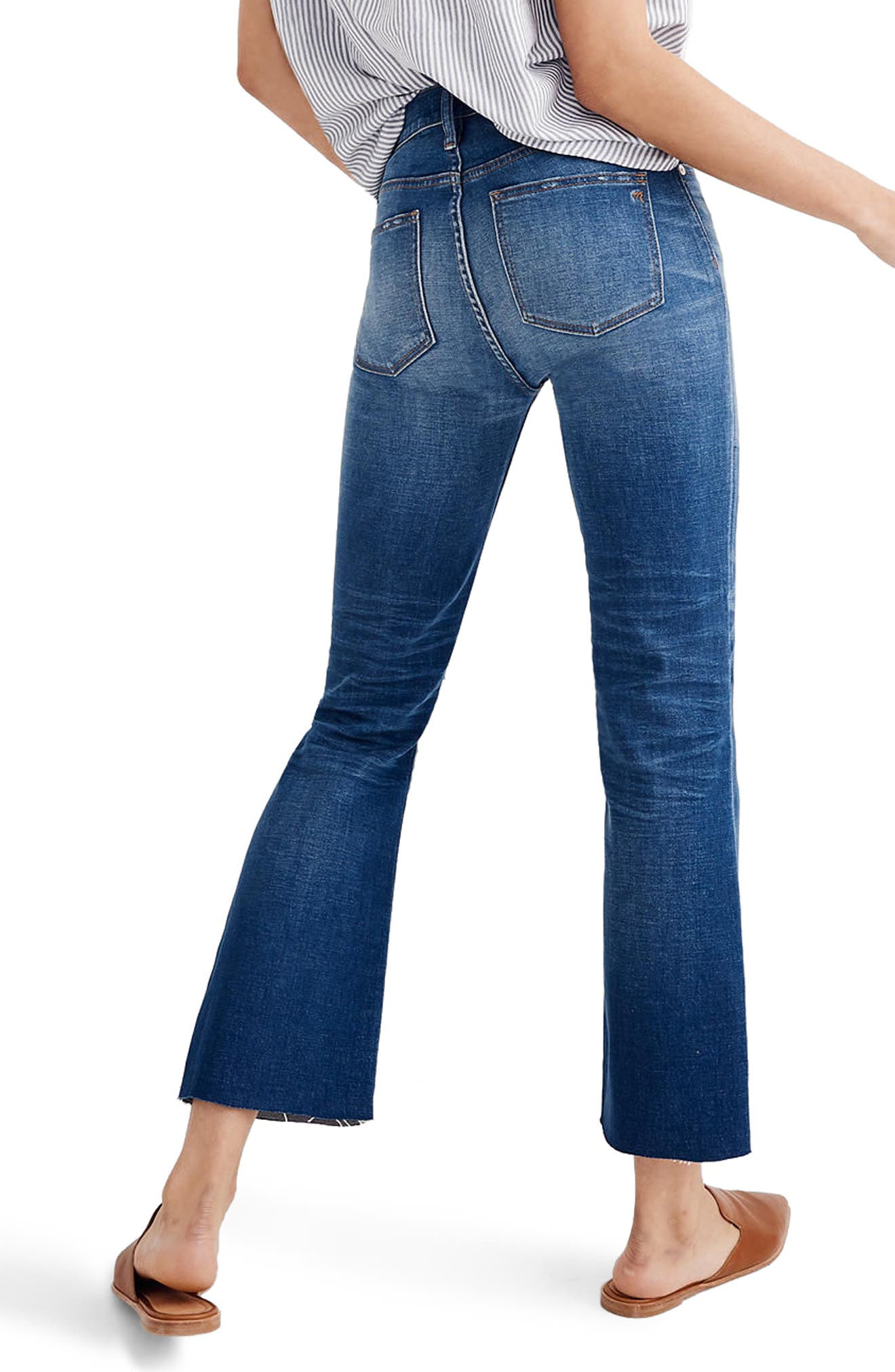 MADEWELL, Cali Ripped Demi Bootleg Crop Jeans, Alternate thumbnail 2, color, 400