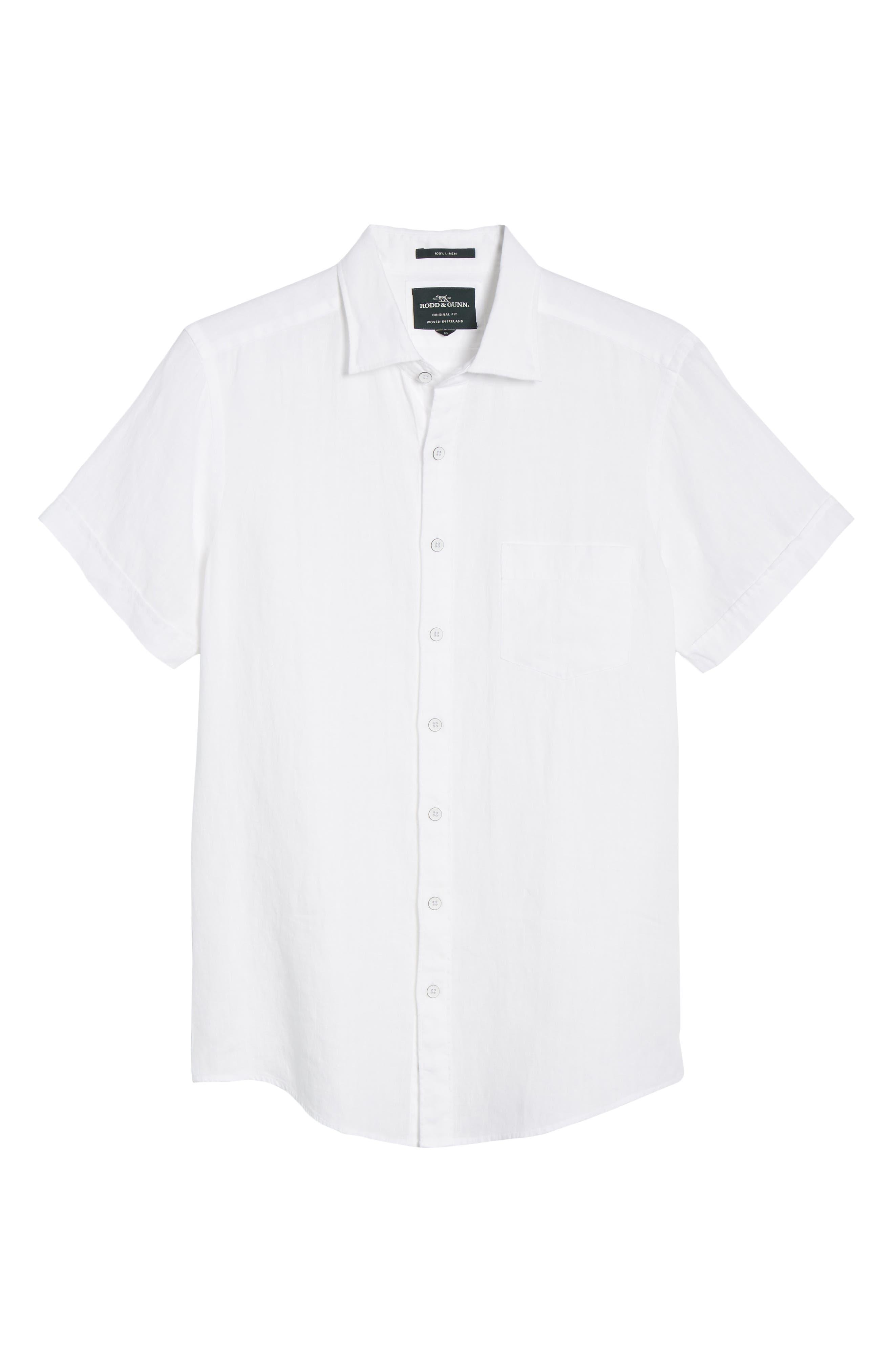 RODD & GUNN, Regular Fit Ellerslie Linen Shirt, Alternate thumbnail 5, color, IVORY