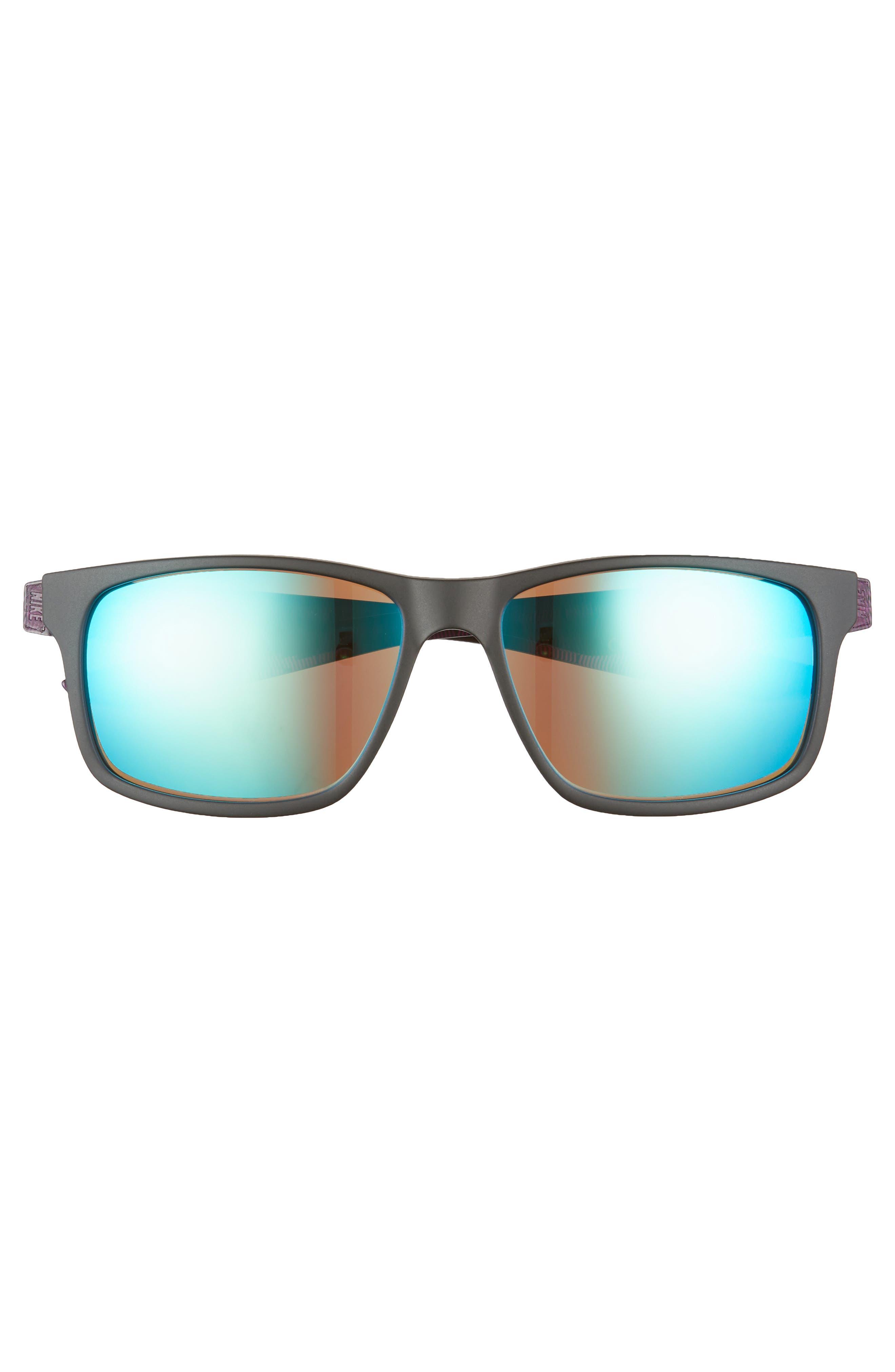 NIKE, Essential Chaser 57mm Reflective Sunglasses, Alternate thumbnail 2, color, MATTE BLACK/ GREEN