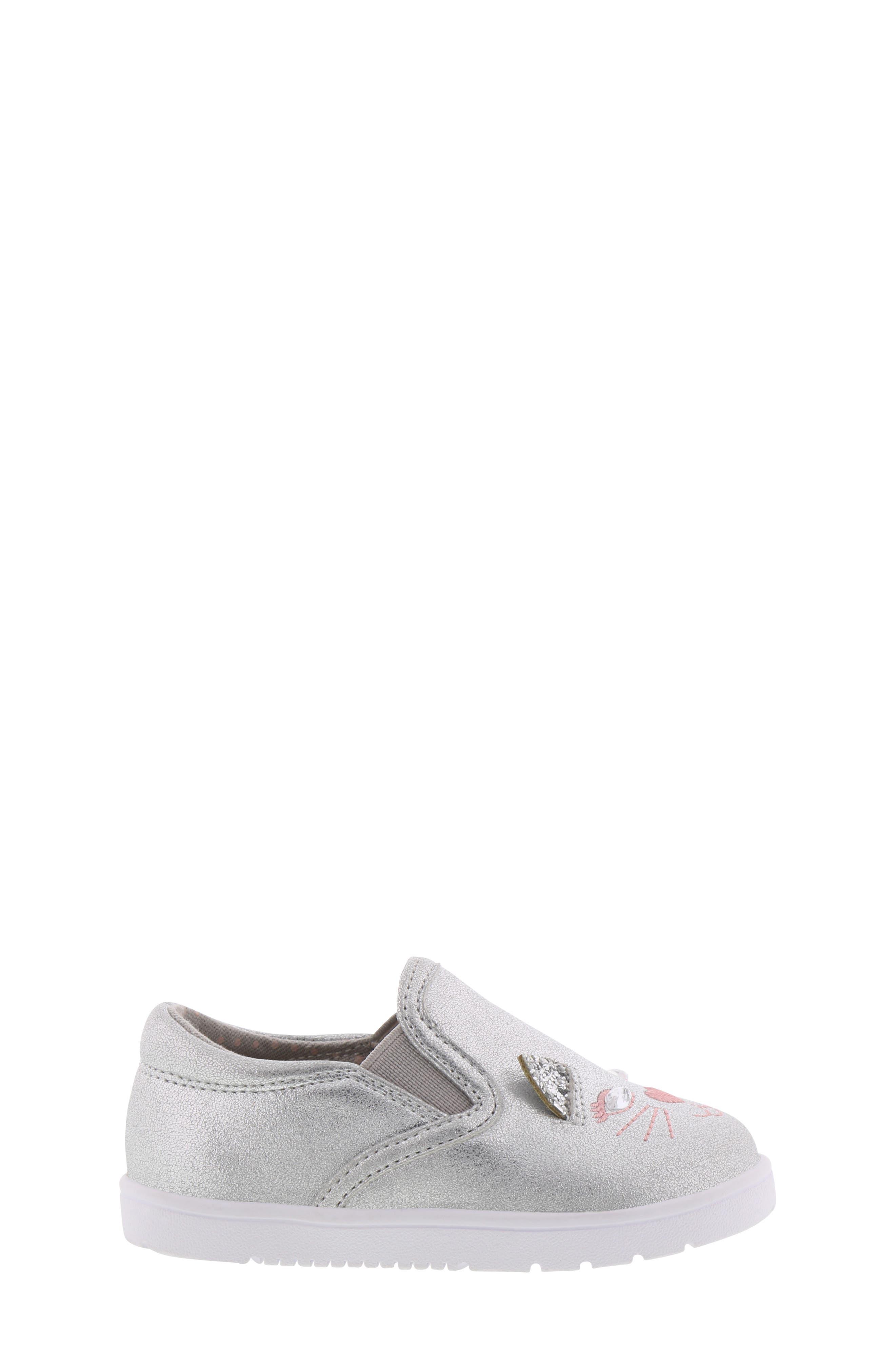 BØRN, Bailey Jaslyna Slip-On Glitter Sneaker, Alternate thumbnail 3, color, SILVER