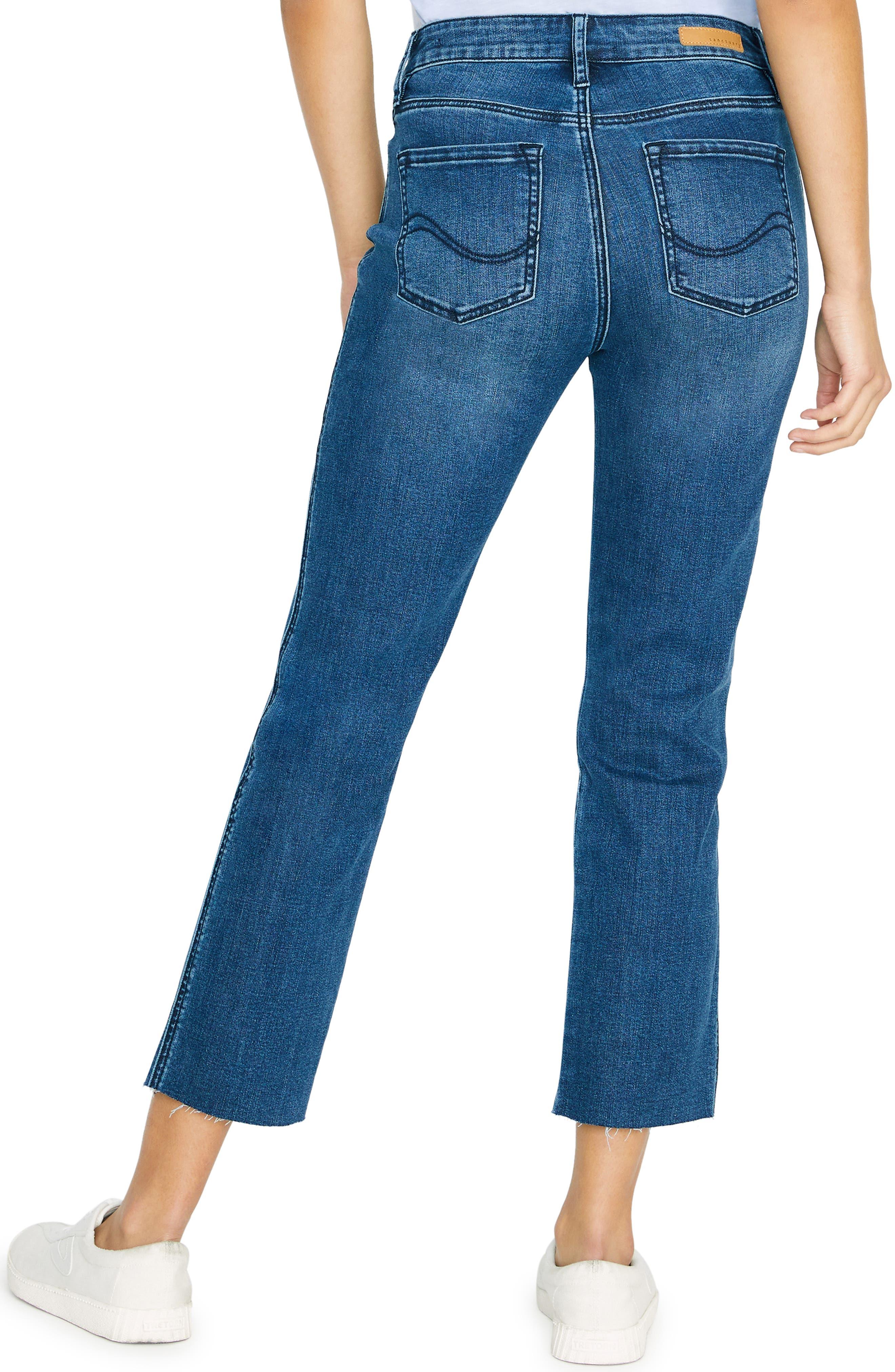 SANCTUARY, Modern Standard High Waist Raw Hem Straight Leg Jeans, Alternate thumbnail 2, color, ELSINORE BLUE