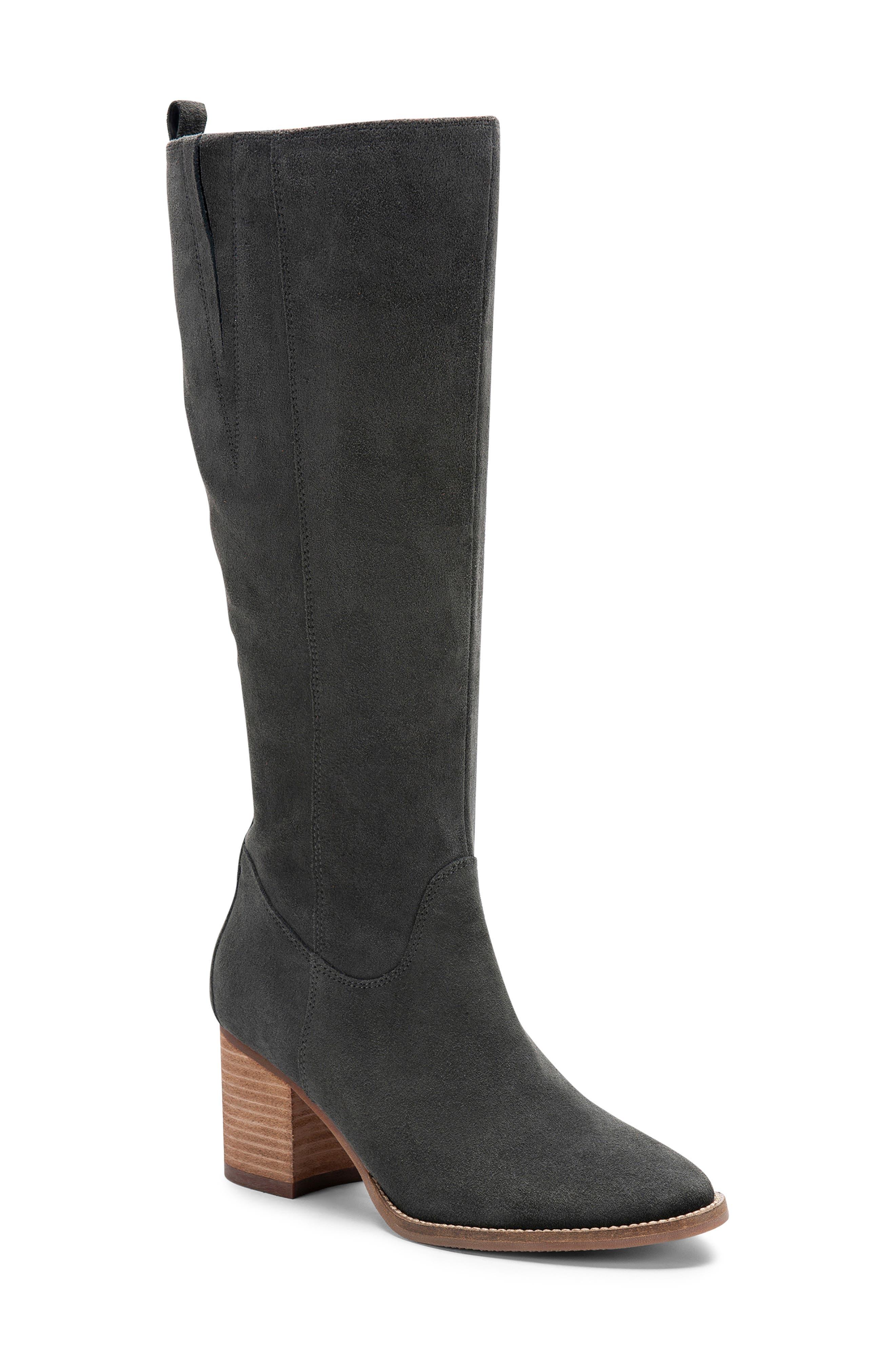 BLONDO, Nikki Waterproof Knee High Waterproof Boot, Main thumbnail 1, color, DARK GREY SUEDE