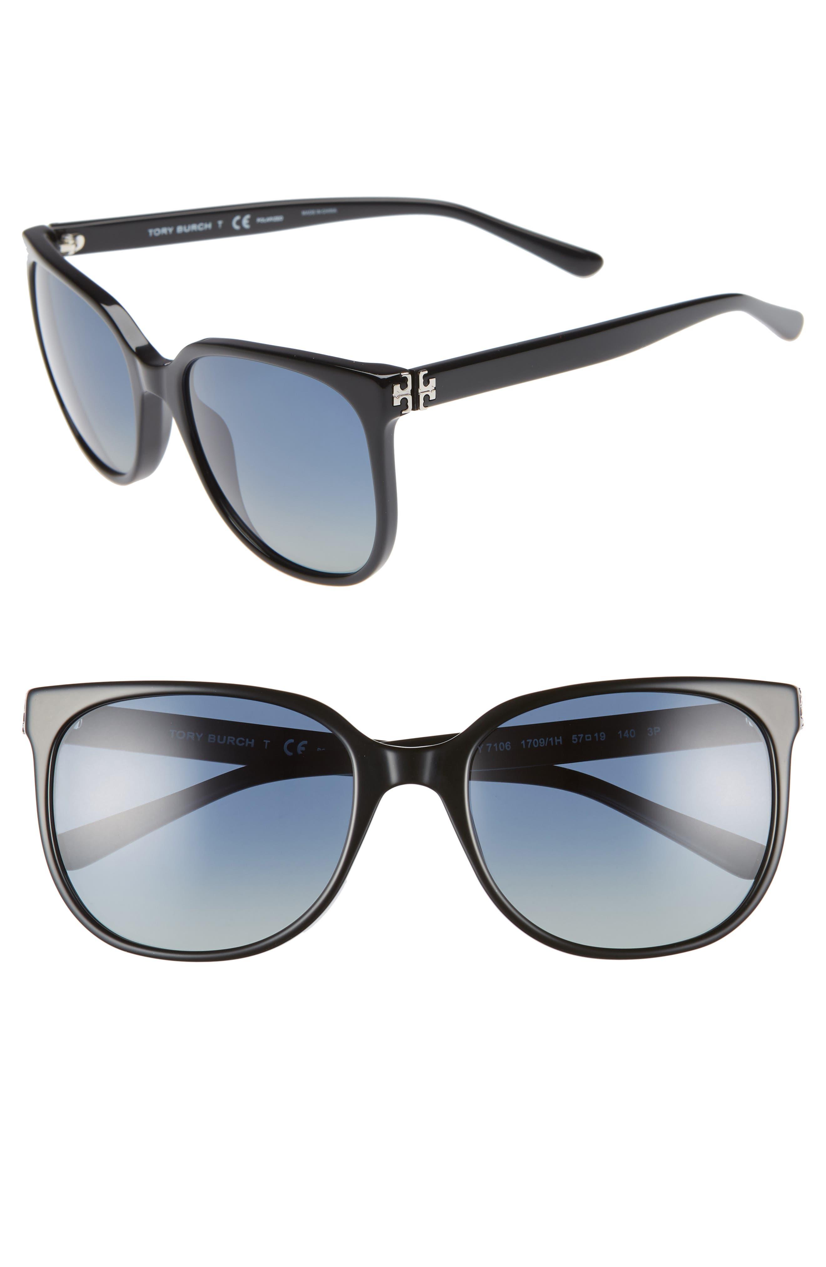 TORY BURCH Revo 57mm Polarized Square Sunglasses, Main, color, 001
