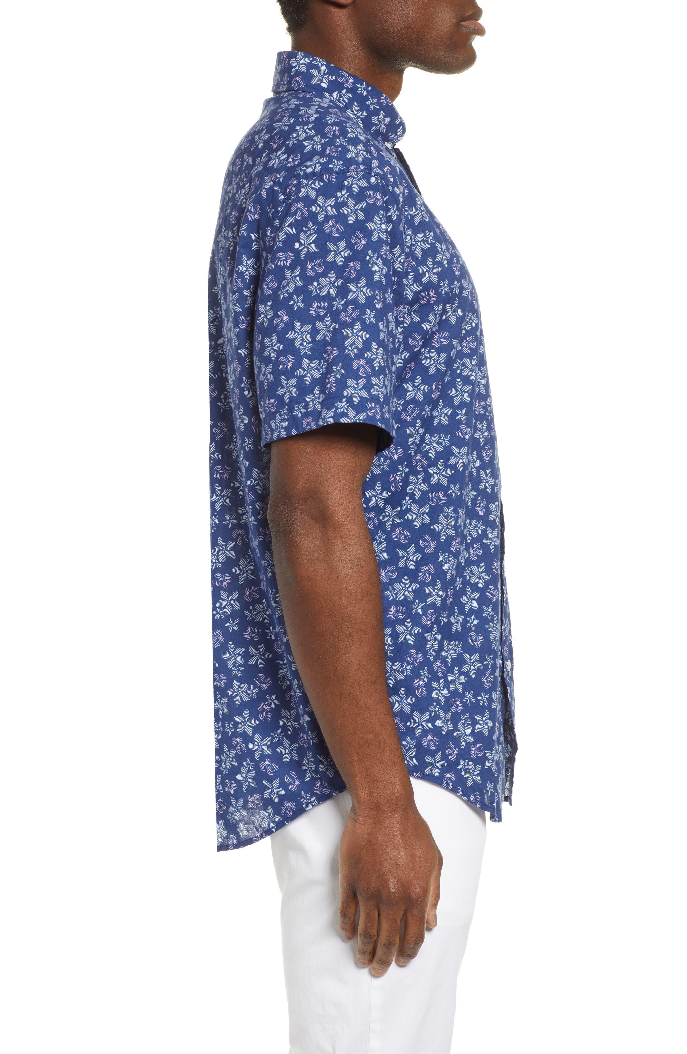 VINEYARD VINES, Murray Slim Fit Floral Print Sport Shirt, Alternate thumbnail 4, color, DEEP BAY