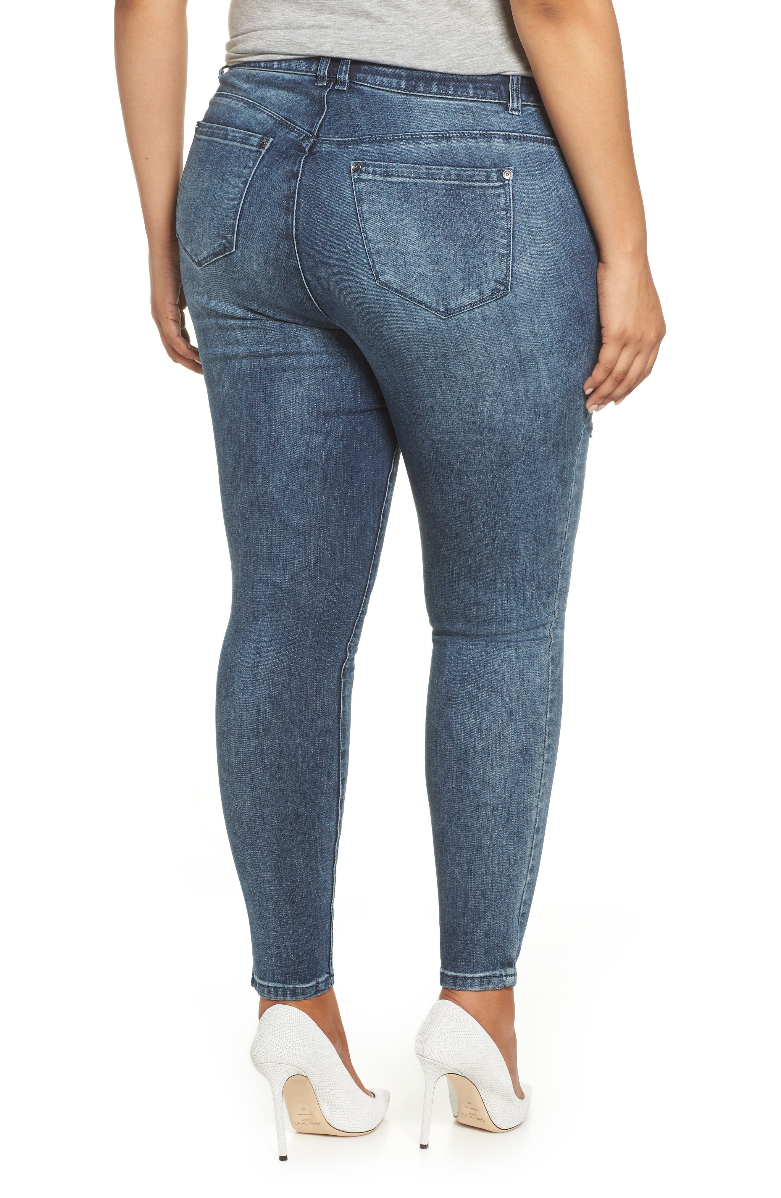 WIT & WISDOM, 30/10 High Rise Ab-solution Skinny Fit Jeans, Alternate thumbnail 2, color, BLUE