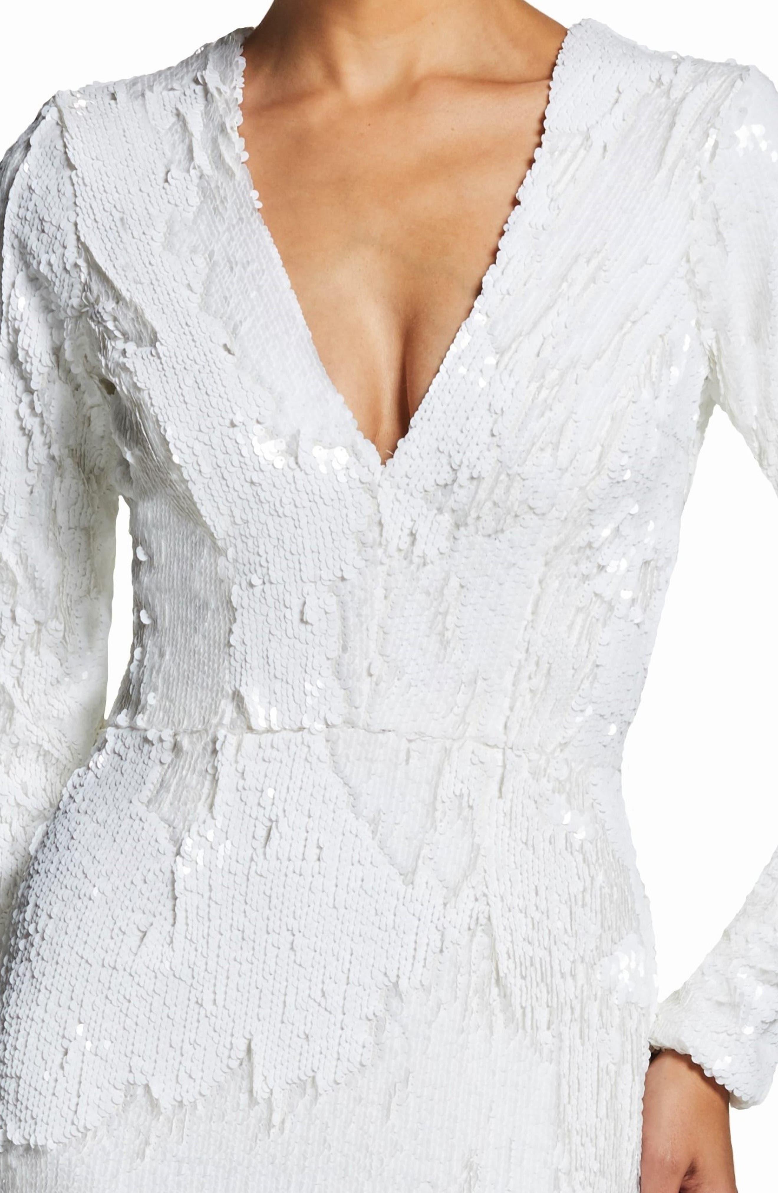 DRESS THE POPULATION, Elizabeth Plunge Midi Dress, Alternate thumbnail 4, color, LILY