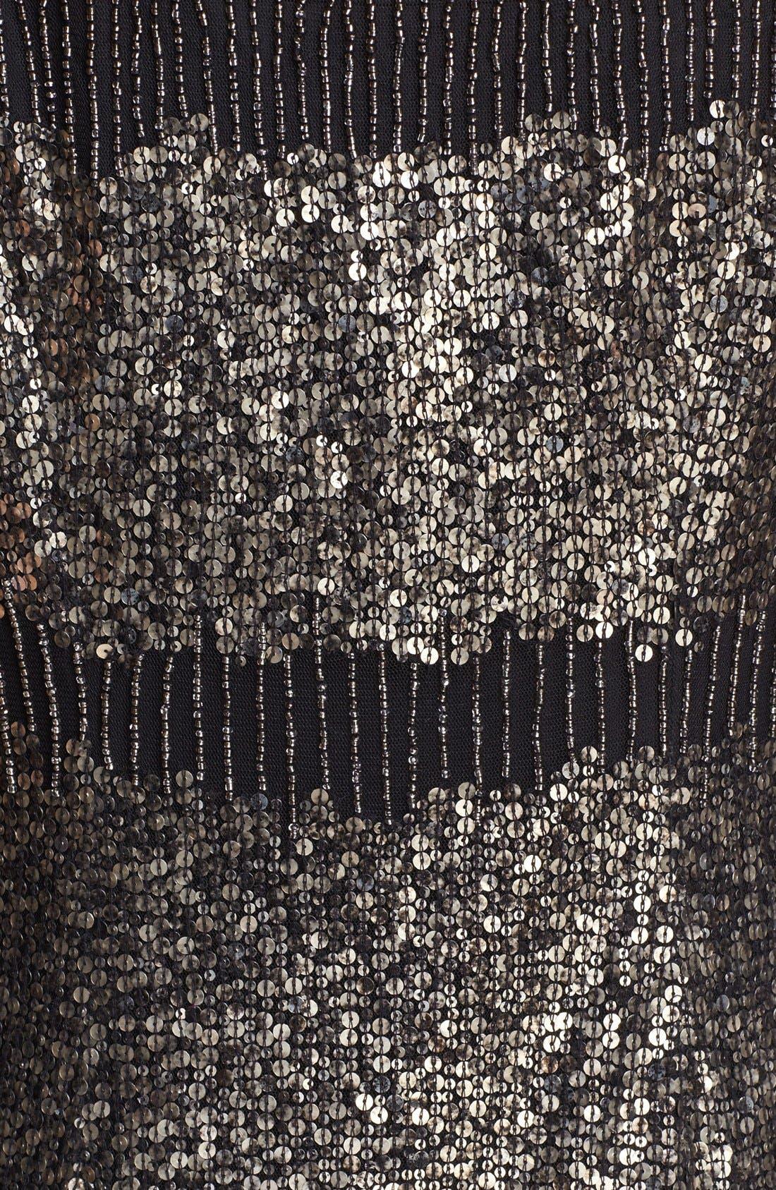 ADRIANNA PAPELL, Illusion Yoke Beaded Sheath Dress, Alternate thumbnail 2, color, 001