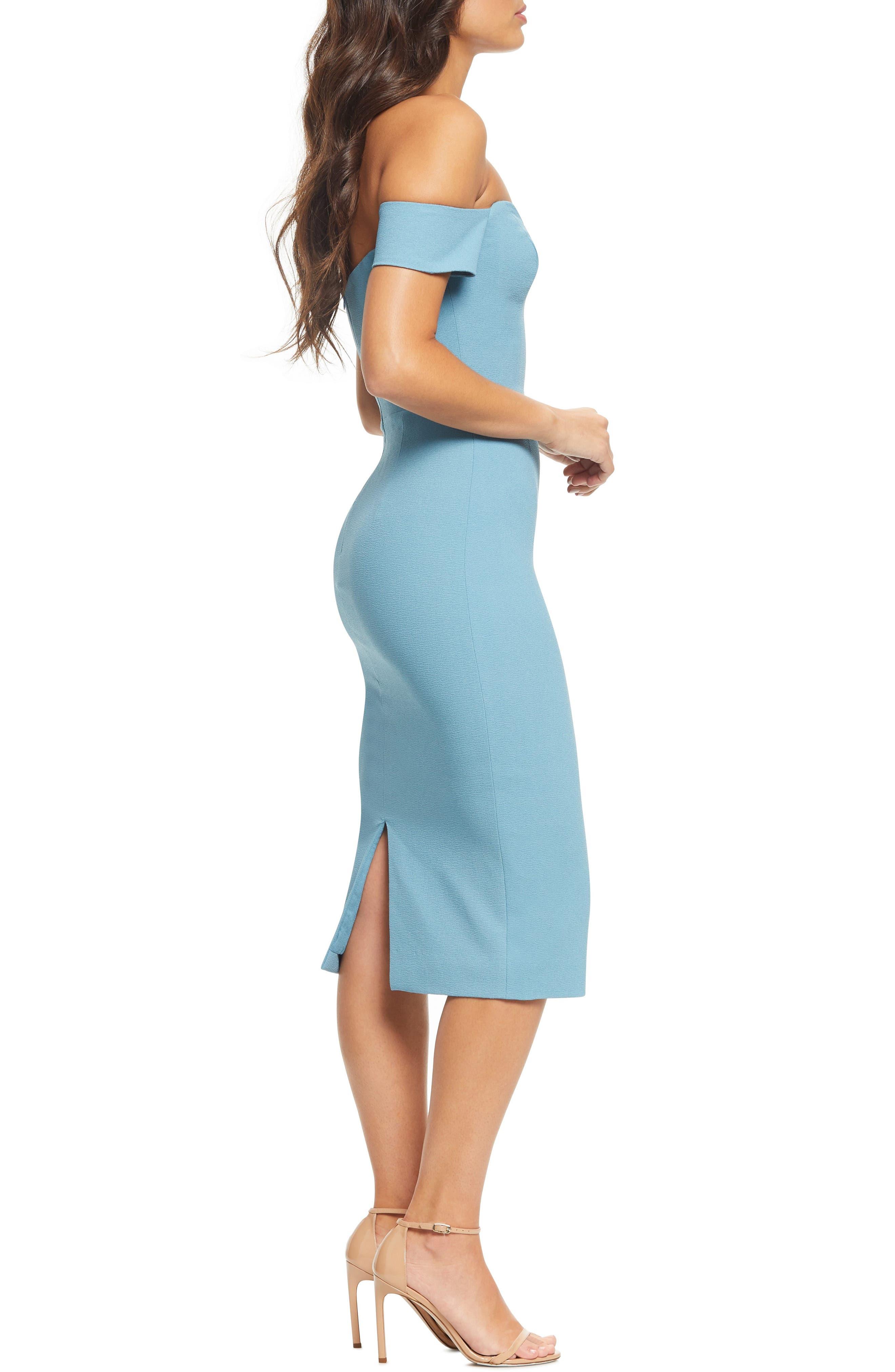DRESS THE POPULATION, Bailey Off the Shoulder Body-Con Dress, Alternate thumbnail 5, color, SEA BREEZE