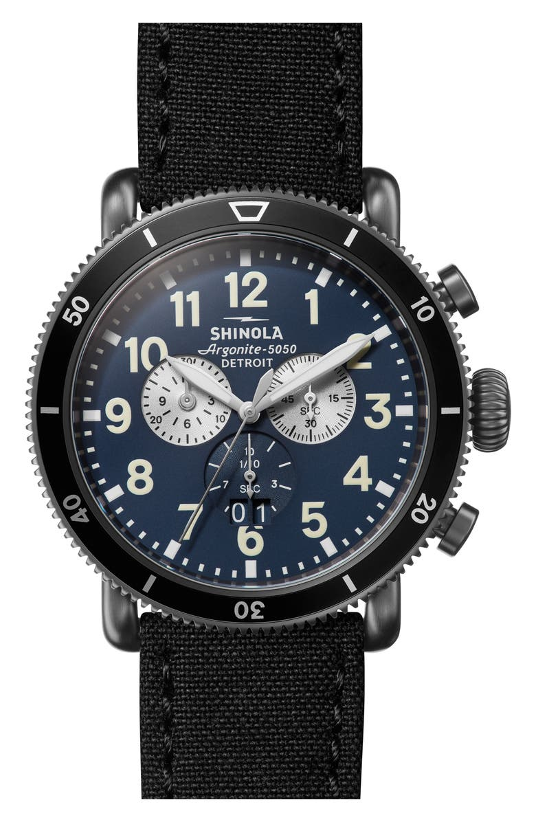 33bca80d2 SHINOLA The Runwell Sport Chronograph Leather Strap Watch, 48mm, Main,  color, BLACK