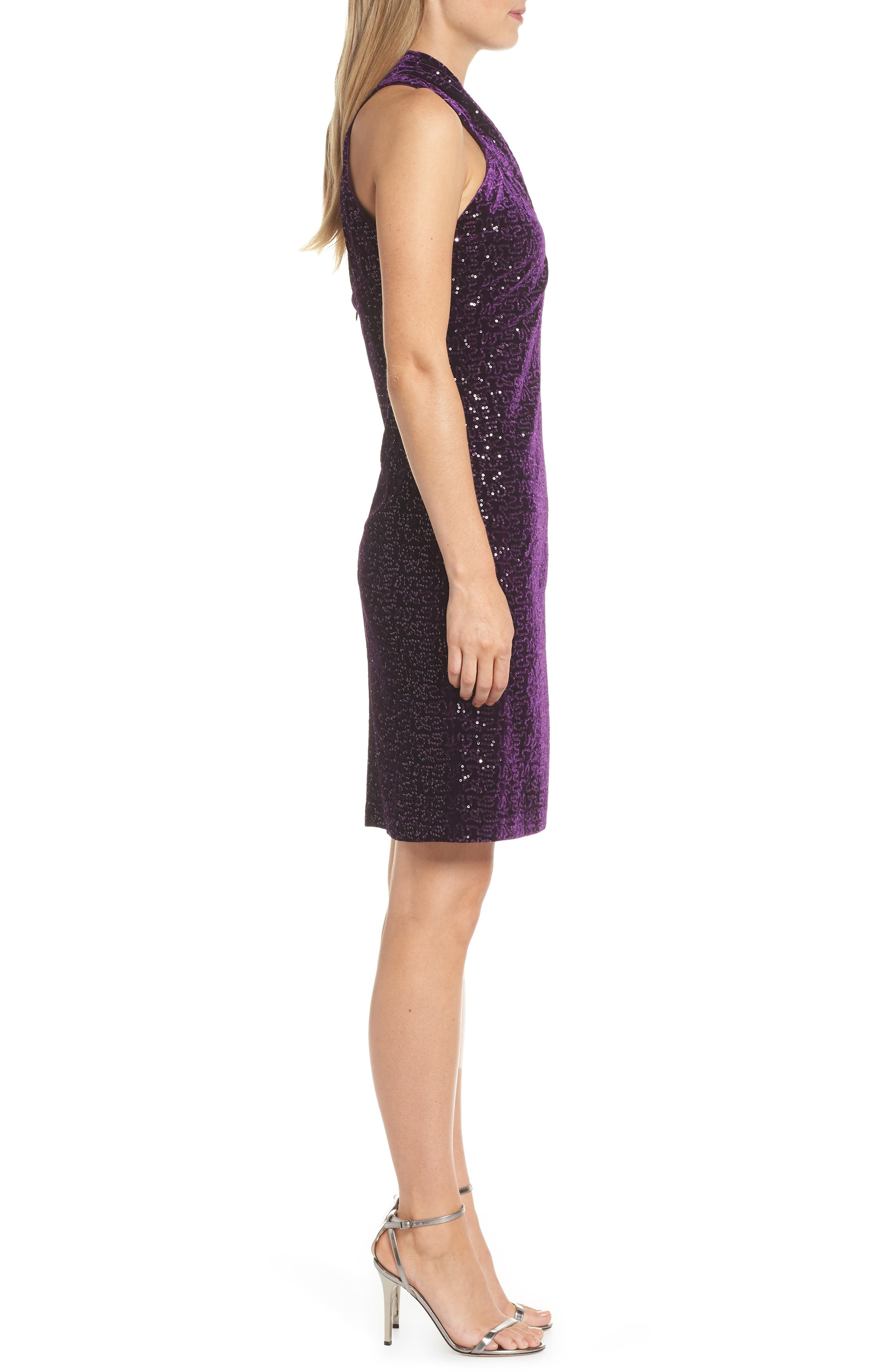 ELIZA J, Halter Sheath Dress, Alternate thumbnail 4, color, PLUM