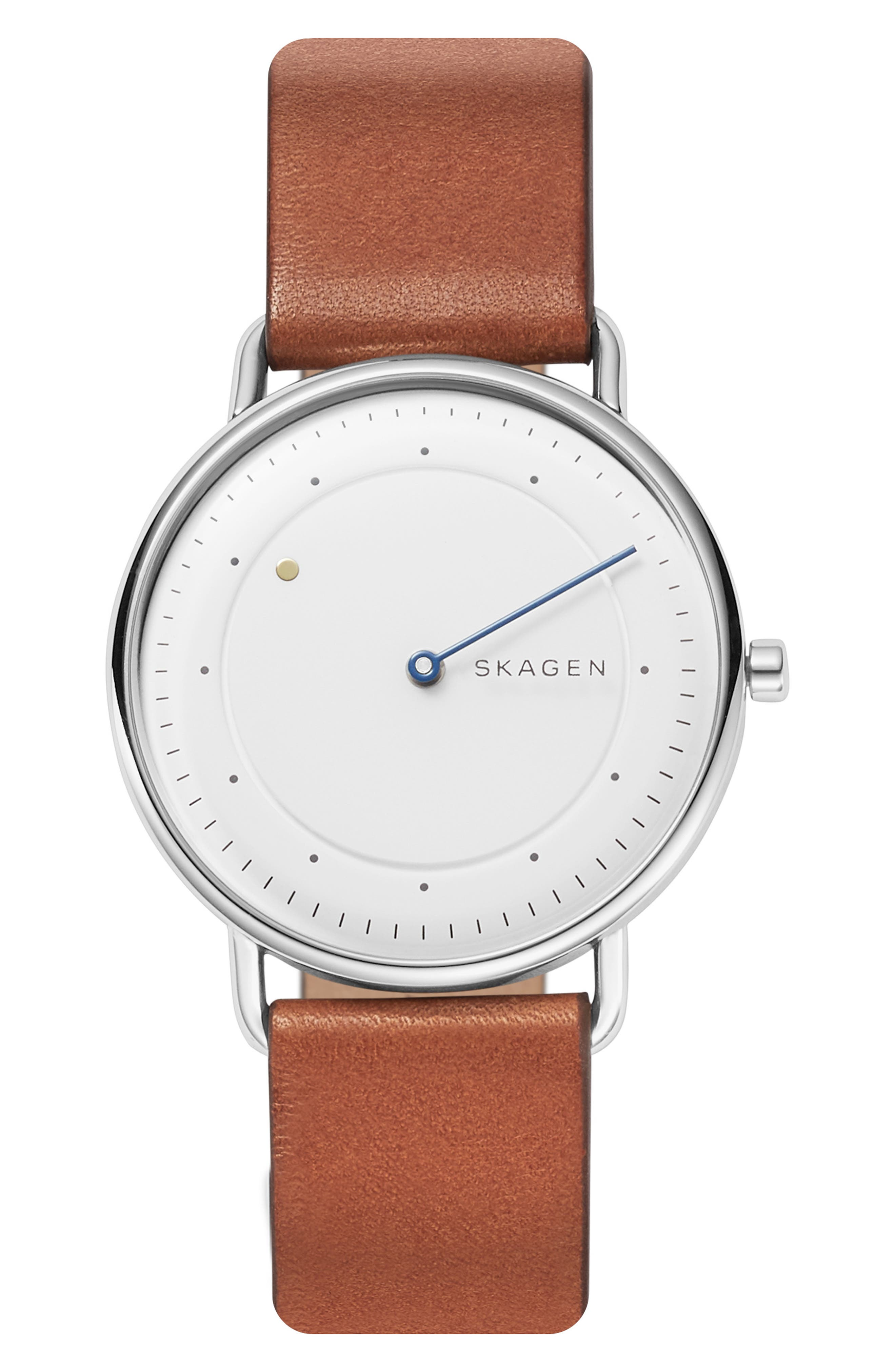 SKAGEN, Horisont Leather Strap Watch, 40mm, Alternate thumbnail 6, color, 200