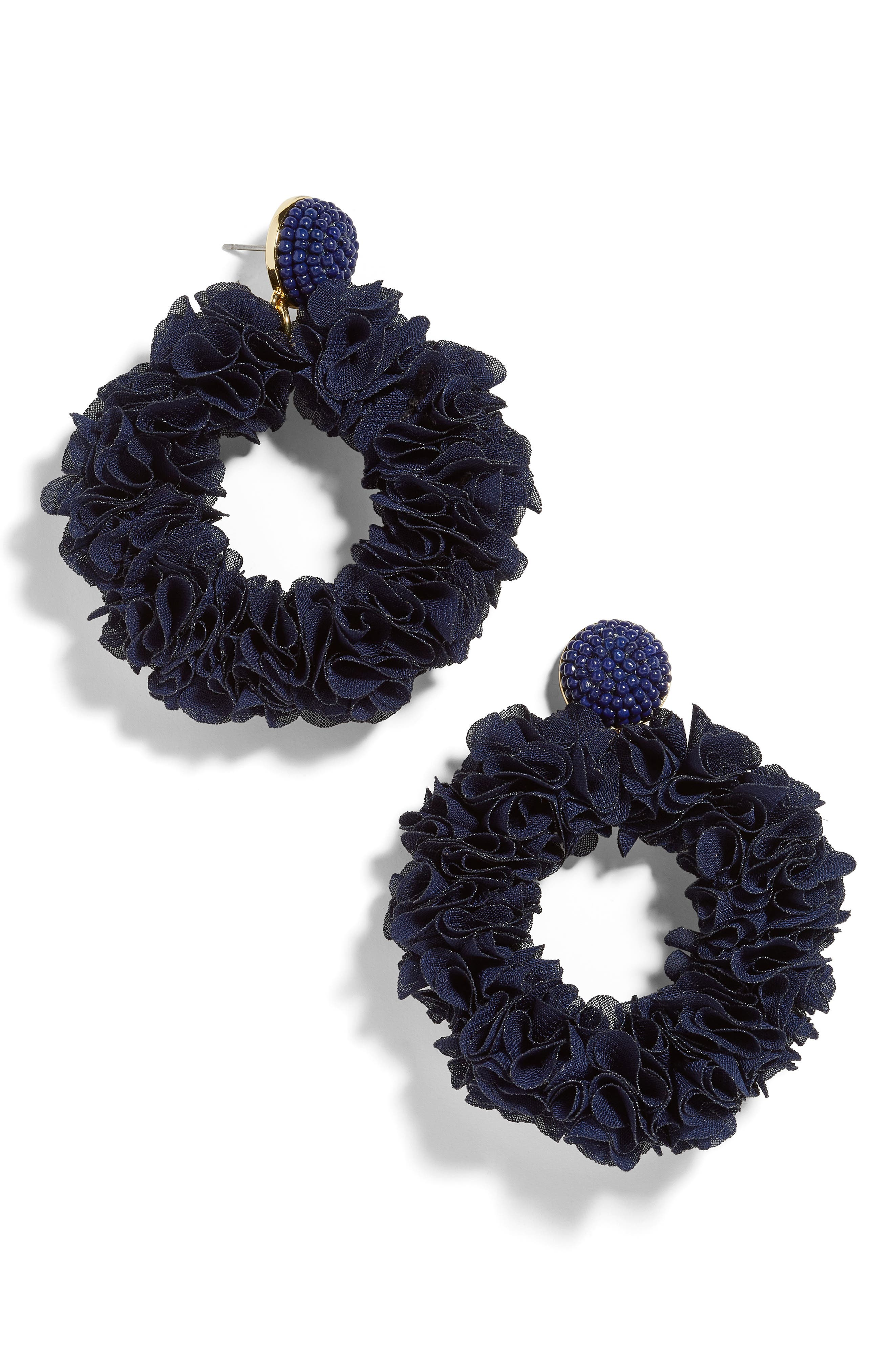 BAUBLEBAR, Camellia Floral Hoop Drop Earrings, Main thumbnail 1, color, NAVY