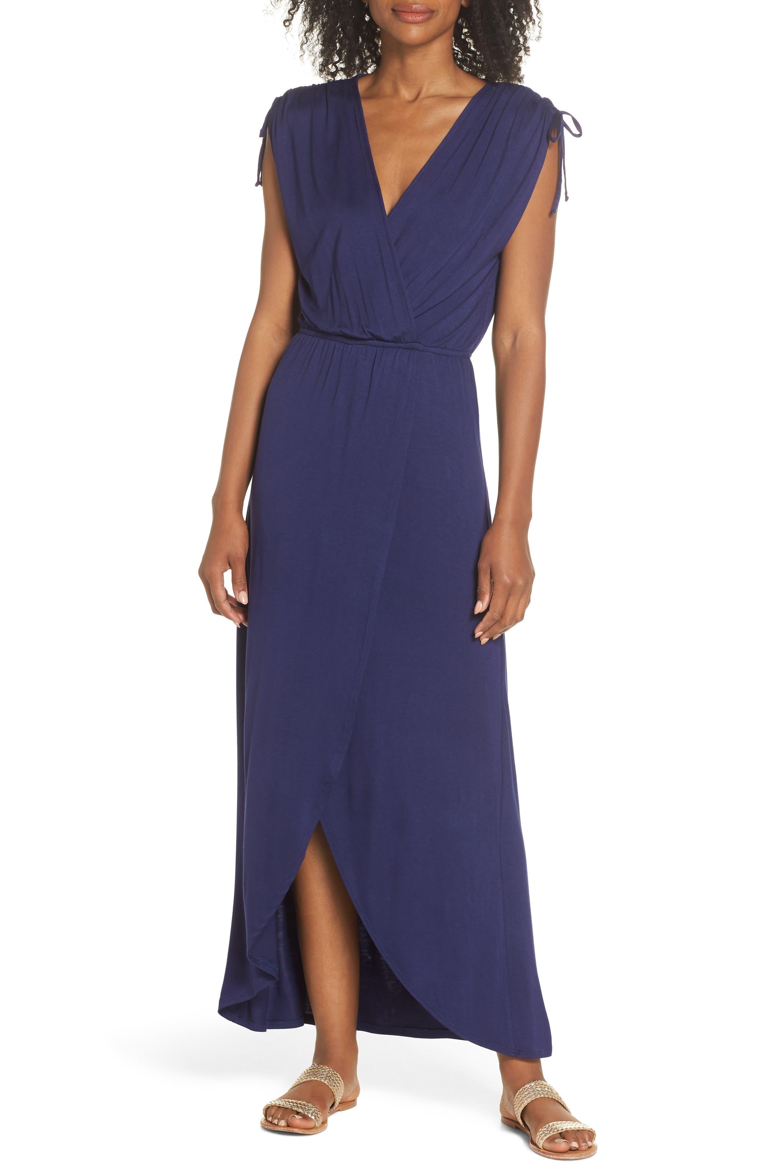 Fraiche By J Tie Shoulder Faux Wrap Maxi Dress, Blue