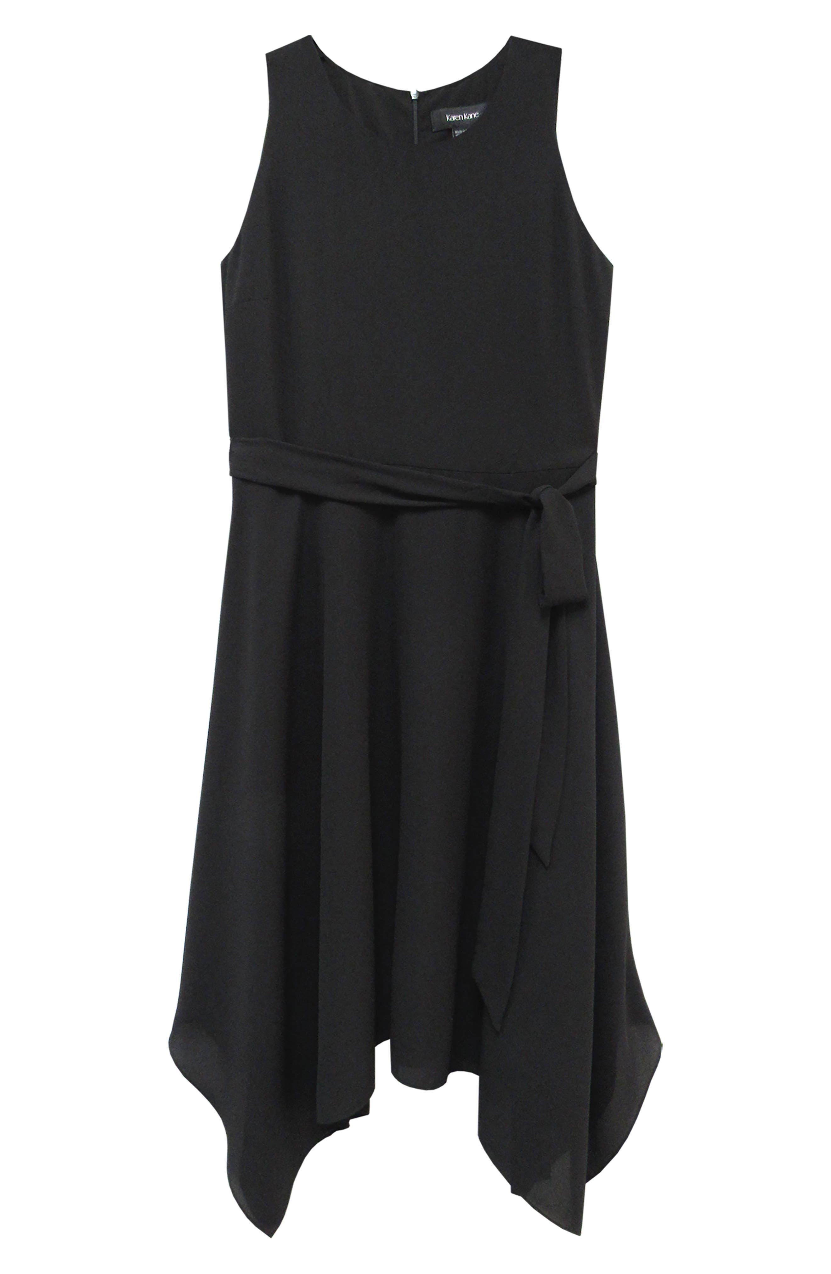 KAREN KANE, Sleeveless Handkerchief Hem Dress, Alternate thumbnail 3, color, BLACK