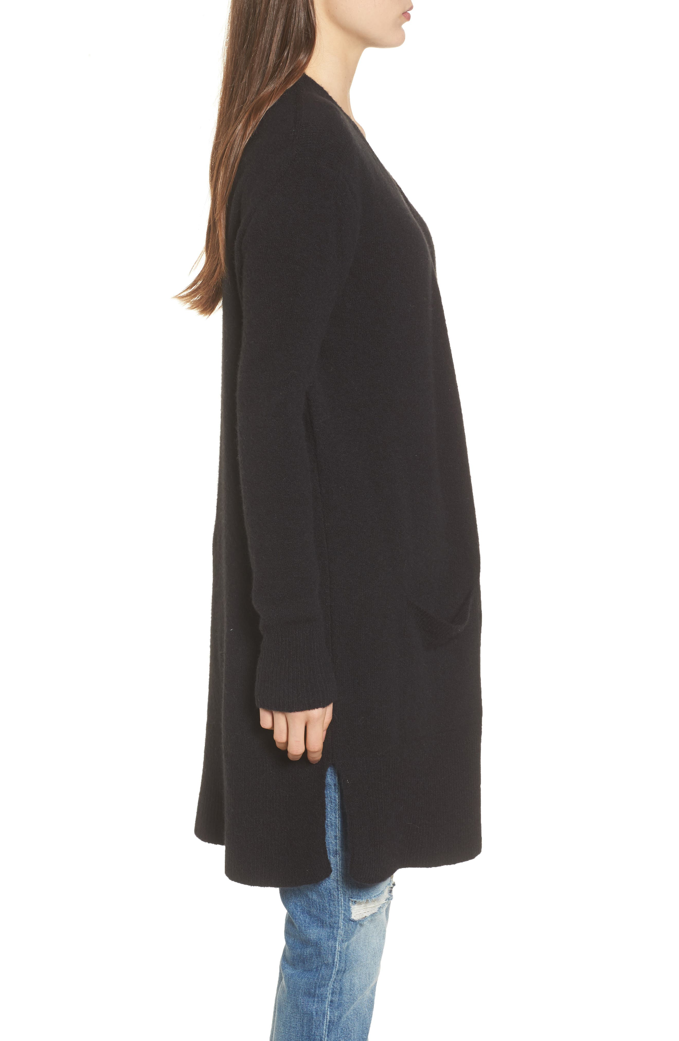 MADEWELL, Kent Cardigan Sweater, Alternate thumbnail 3, color, TRUE BLACK