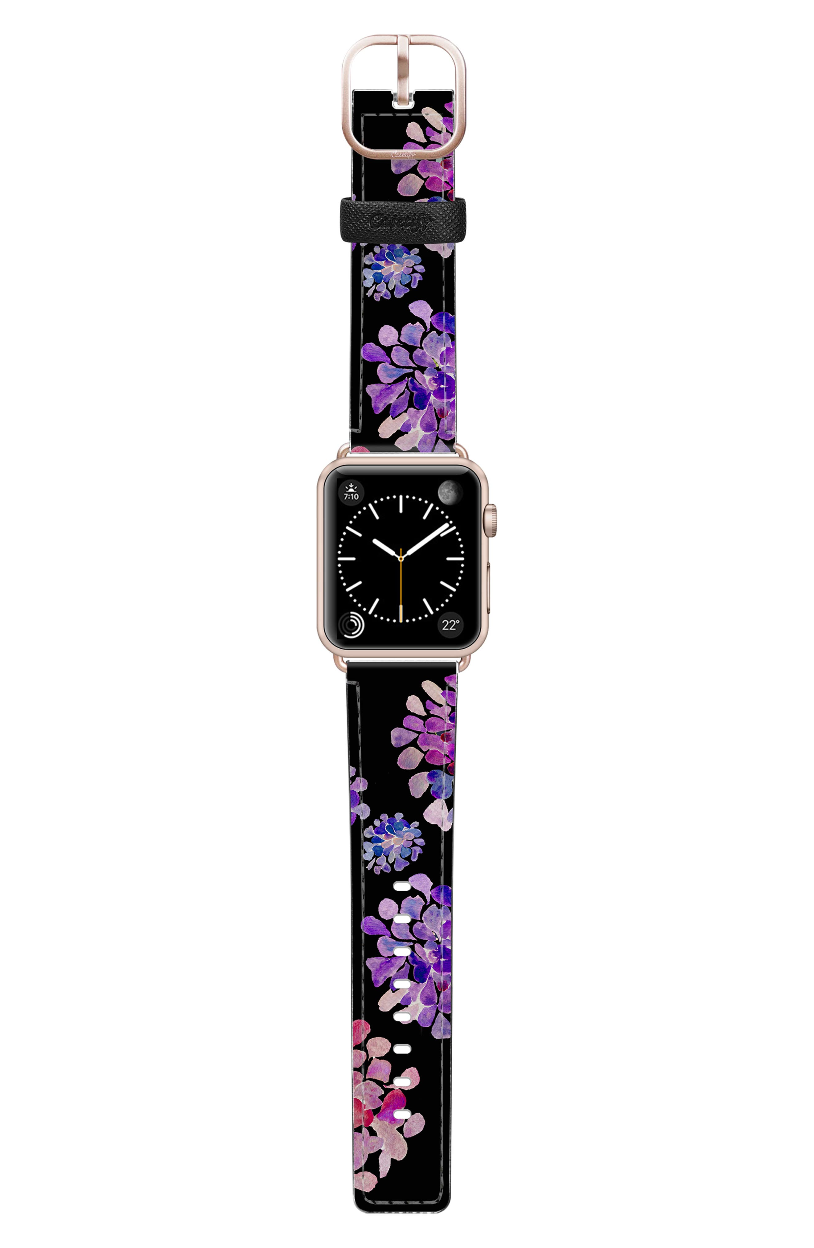 CASETIFY, Saffiano Purple Flowers Faux Leather Apple Watch Strap, Alternate thumbnail 3, color, BLACK/ ROSE GOLD