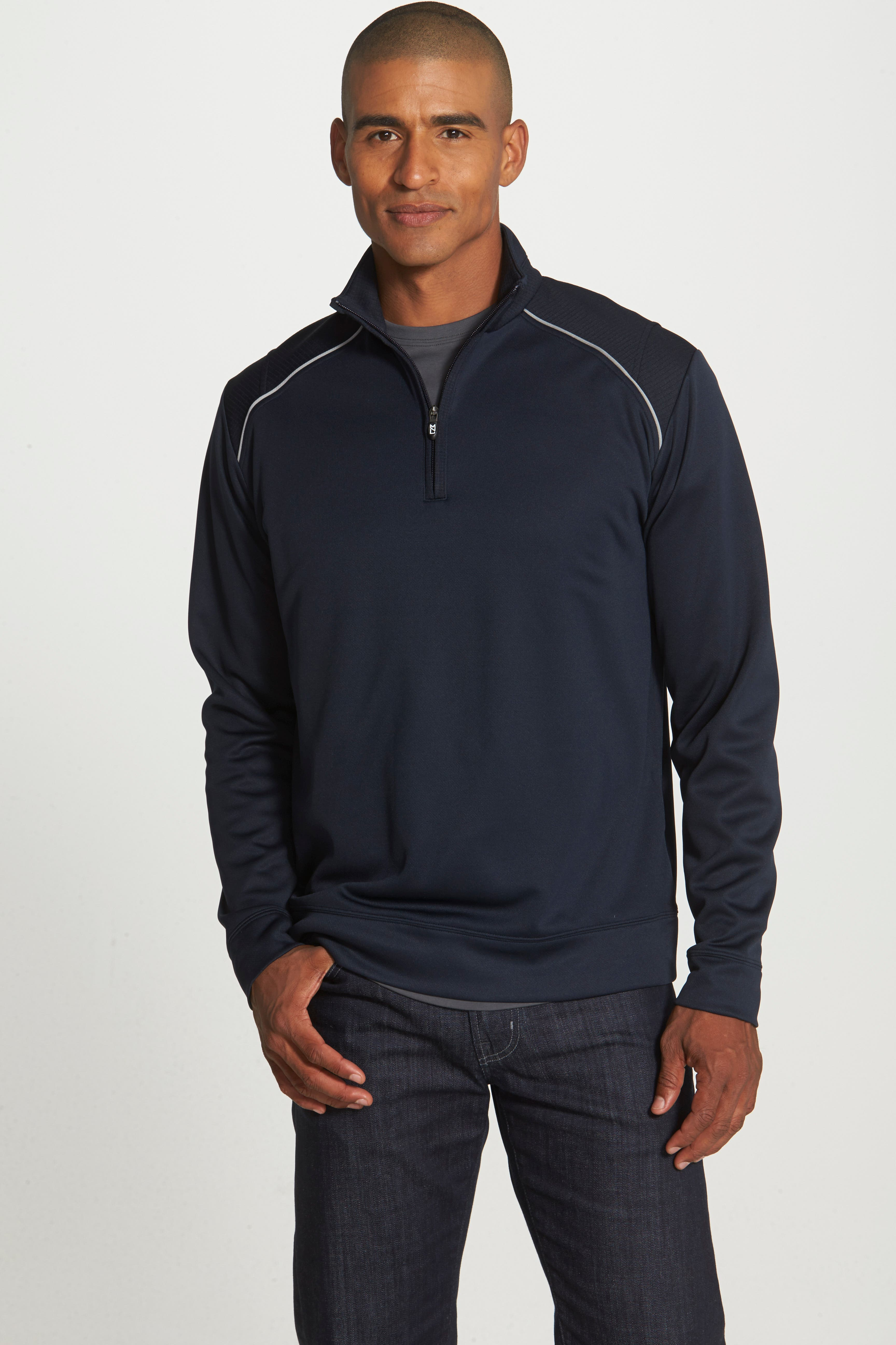 CUTTER & BUCK, Ridge WeatherTec Wind & Water Resistant Pullover, Alternate thumbnail 6, color, NAVY BLUE