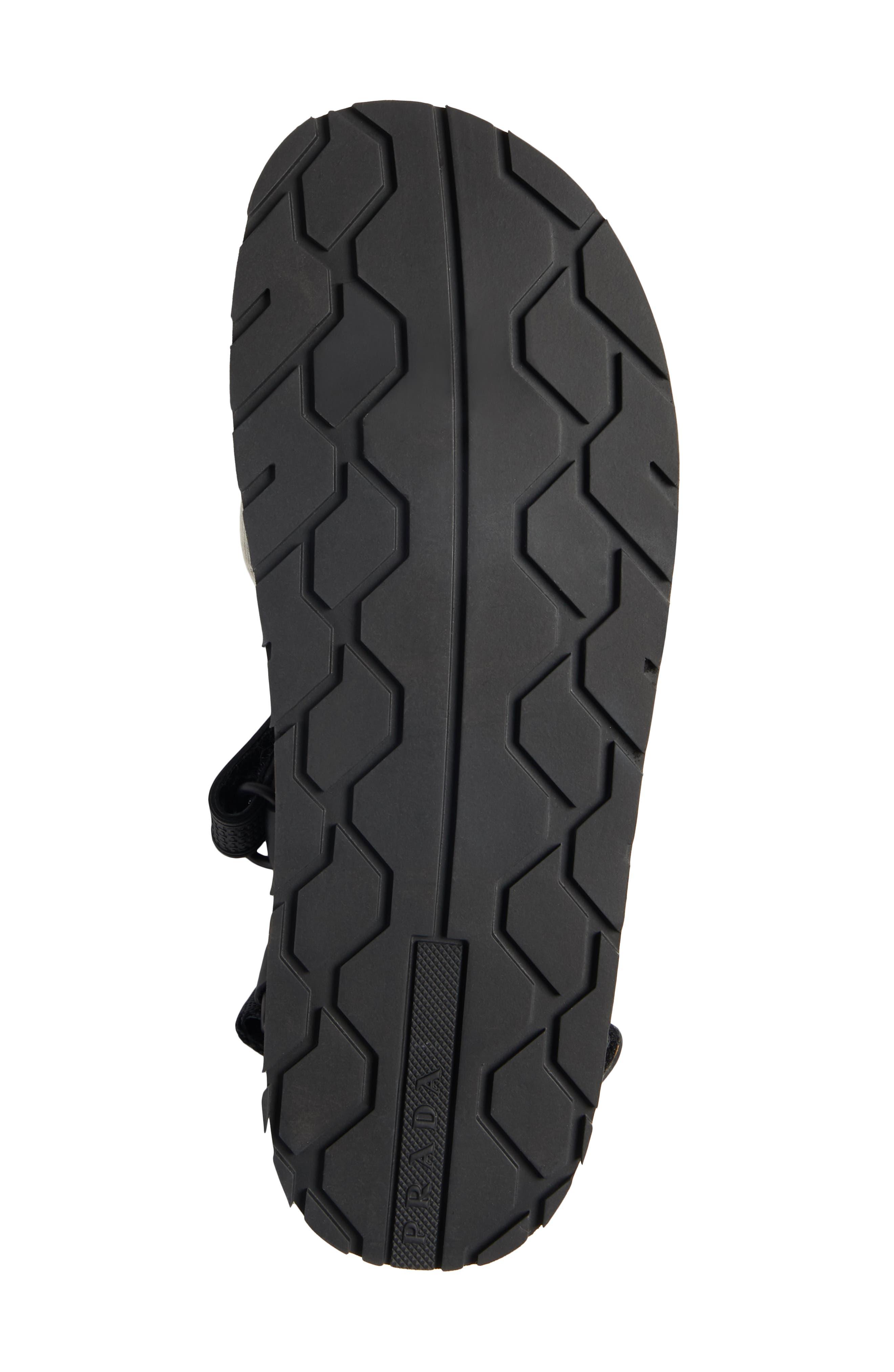 PRADA, Sport Sandal, Alternate thumbnail 6, color, BLACK/ RED