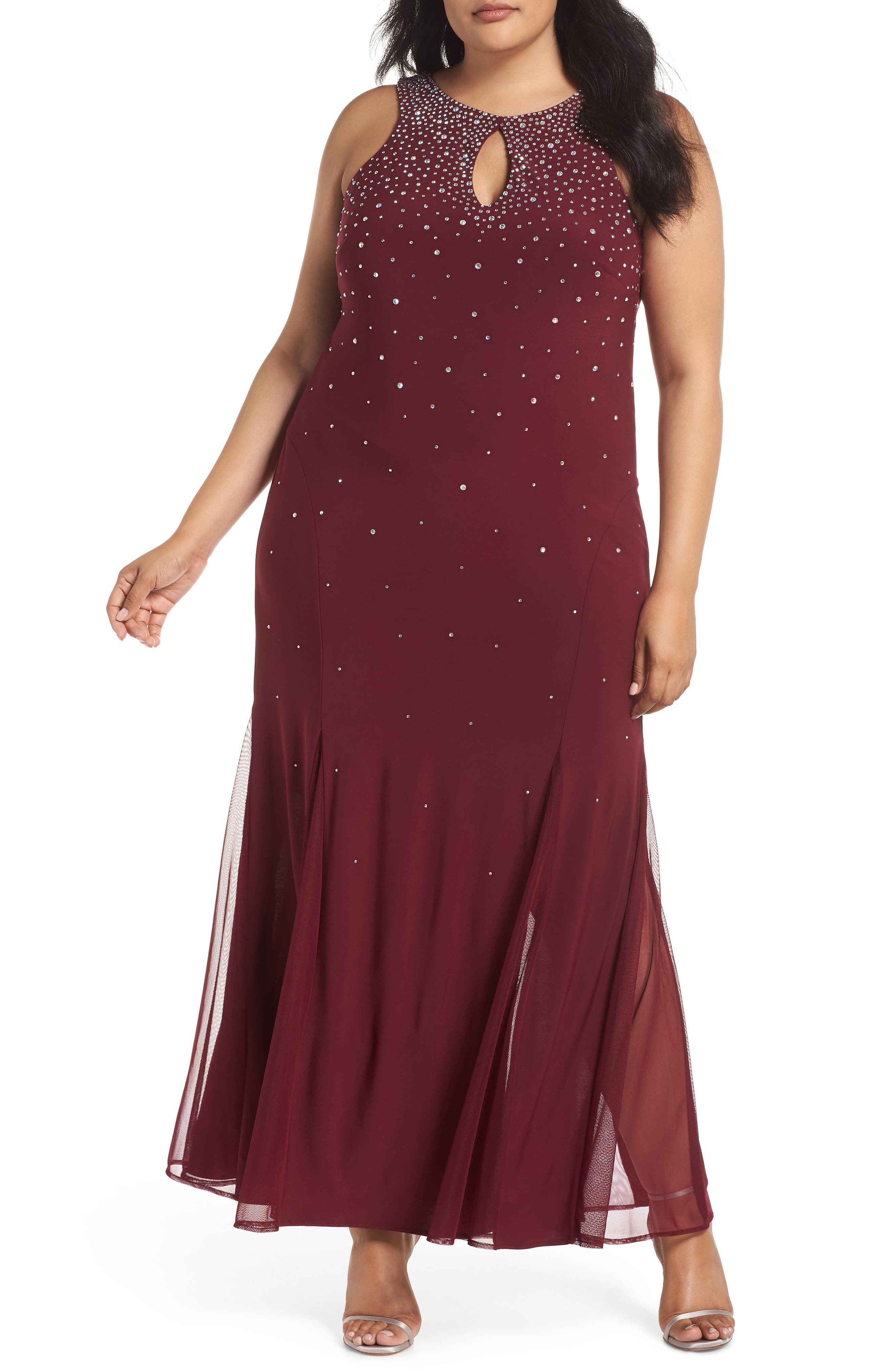 Plus Size Morgan & Co. Rhinestone Trumpet Gown, Red