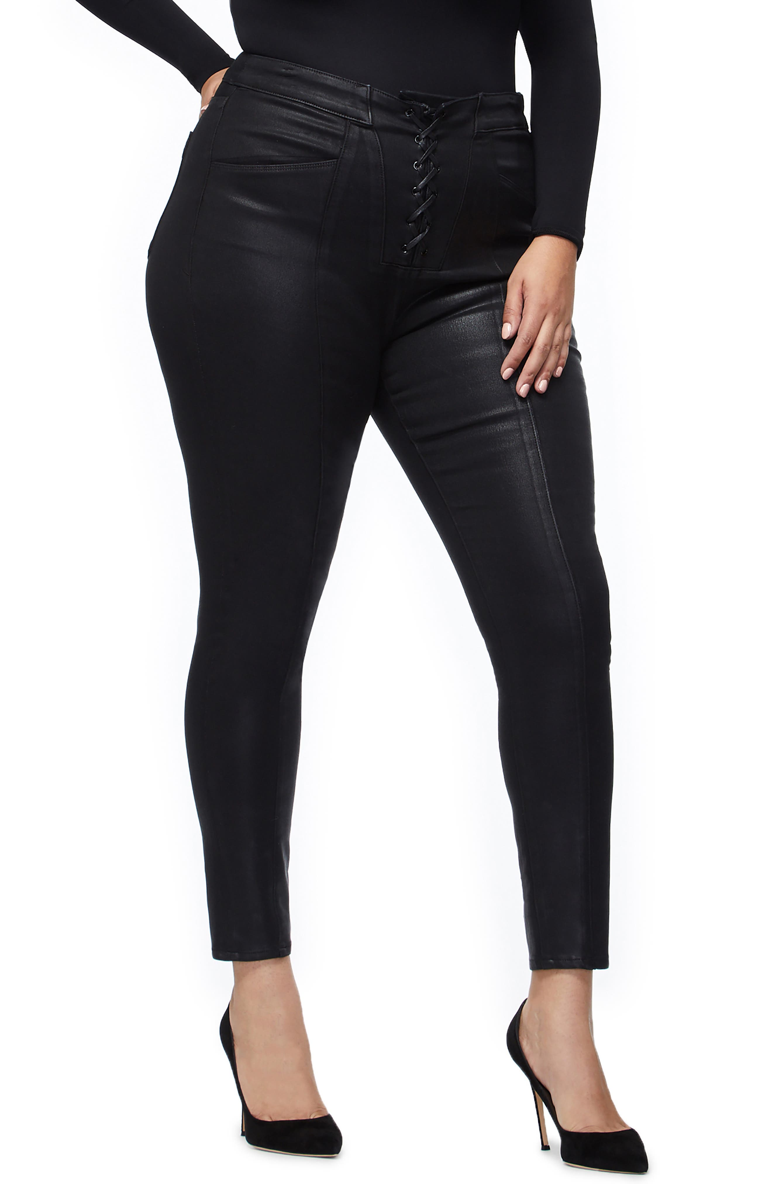 GOOD AMERICAN, Coated Lace-Up High Waist Skinny Jeans, Alternate thumbnail 6, color, BLACK034
