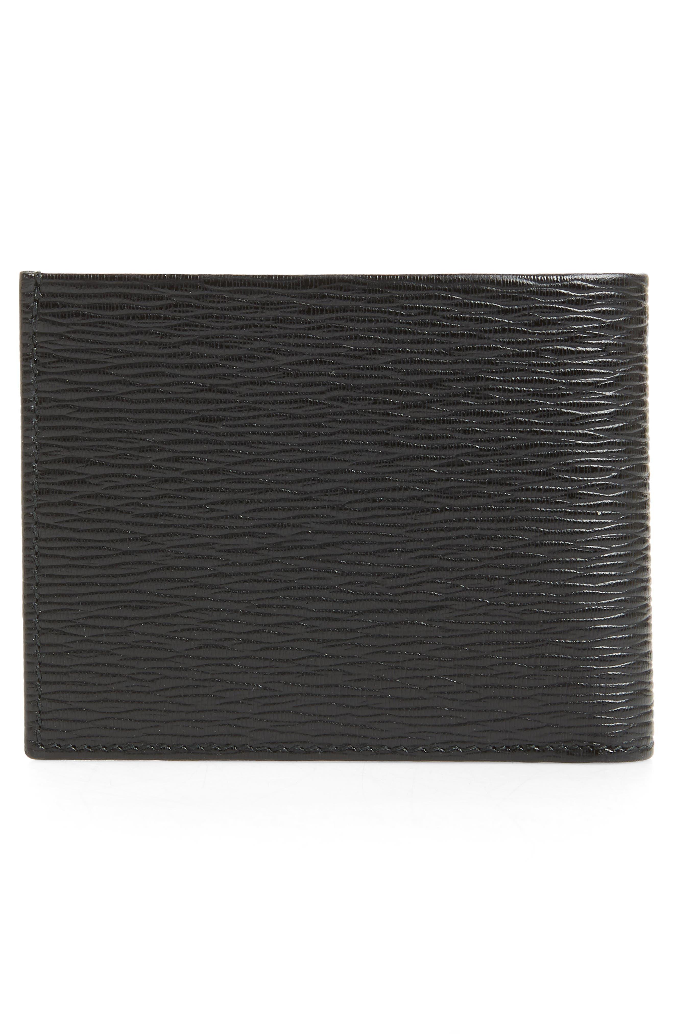 SALVATORE FERRAGAMO, Revival Leather Card Case, Alternate thumbnail 3, color, BLACK