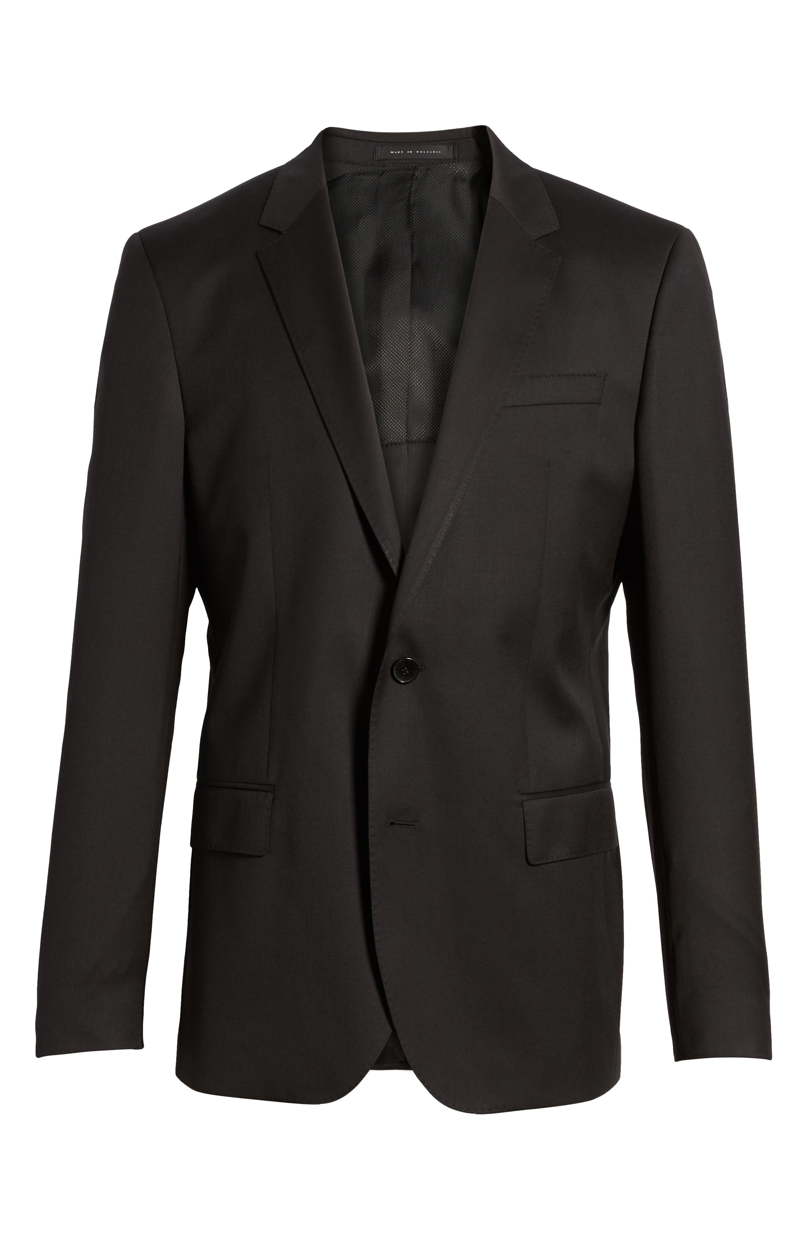 BOSS, Hayes CYL Slim Fit Solid Wool Sport Coat, Alternate thumbnail 5, color, BLACK