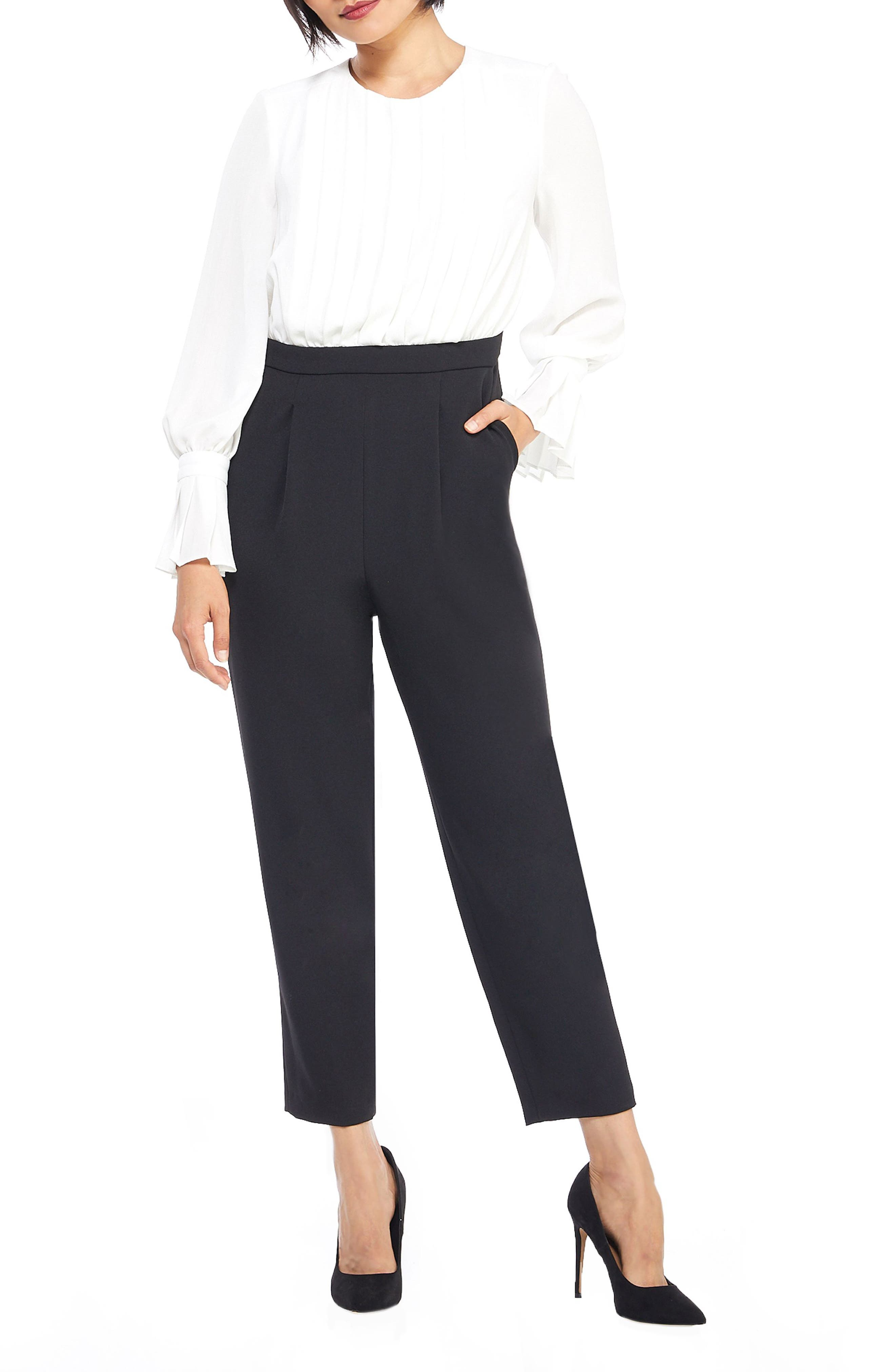 MAGGY LONDON Two-Tone Jumpsuit, Main, color, IVORY/ BLACK