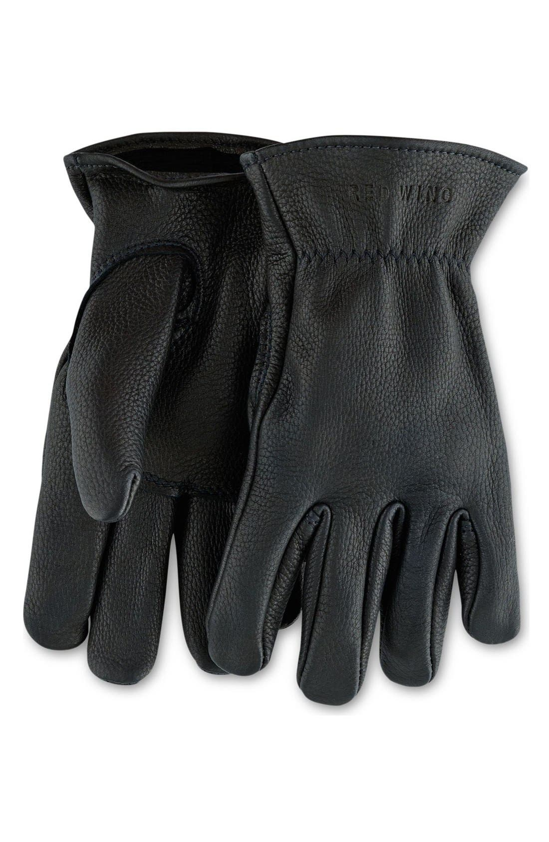 RED WING, Buckskin Leather Gloves, Main thumbnail 1, color, 001