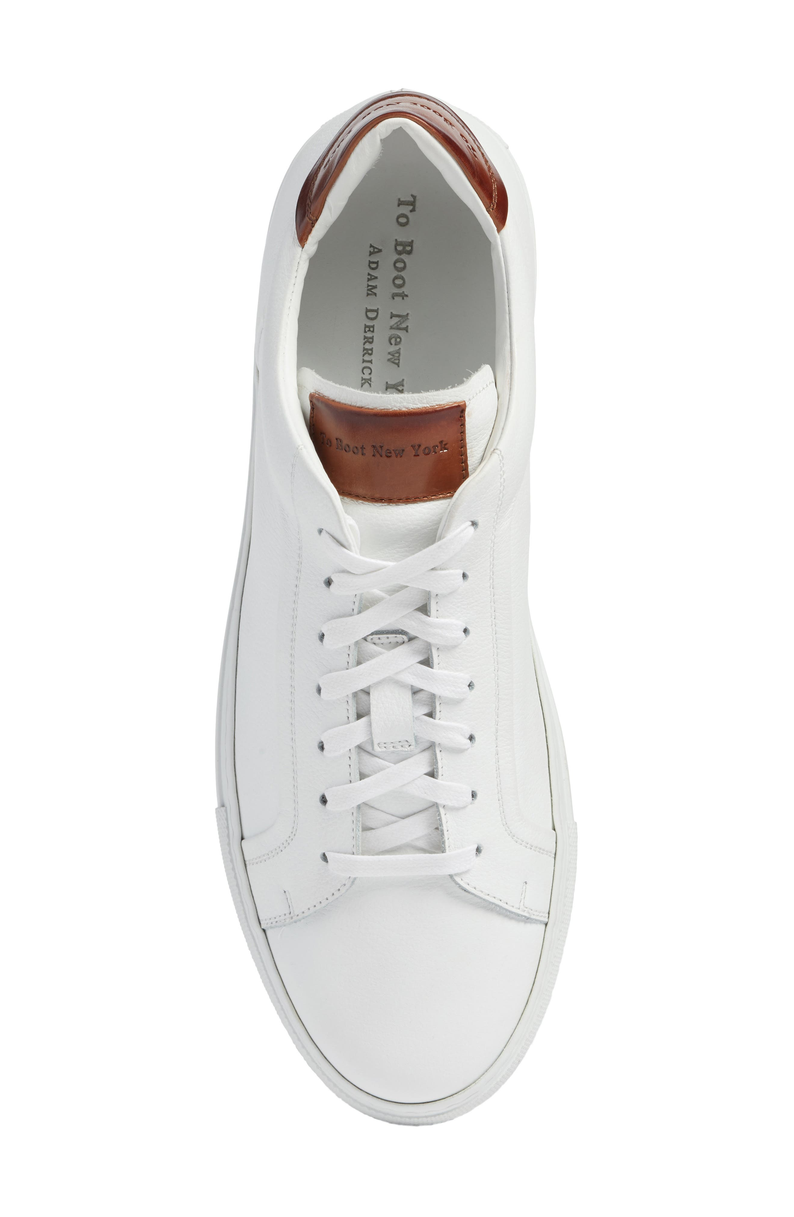 TO BOOT NEW YORK, Carlin Sneaker, Alternate thumbnail 5, color, WHITE/ TAN LEATHER