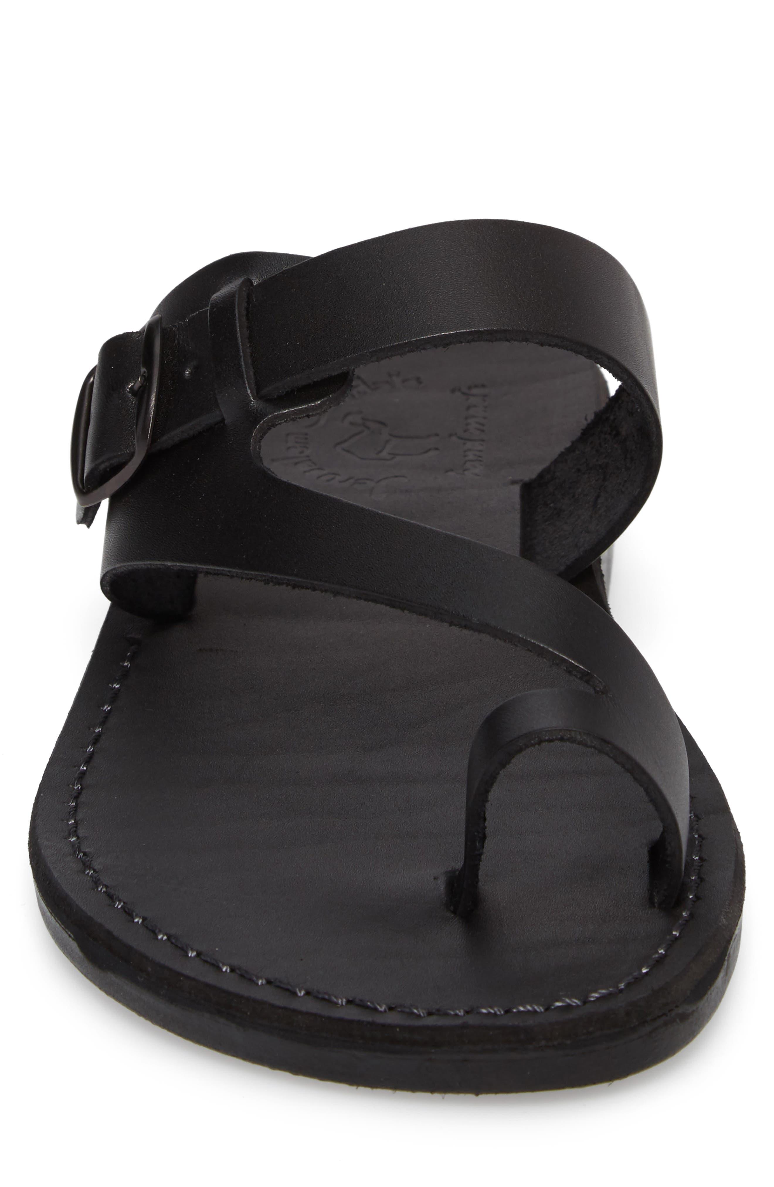 JERUSALEM SANDALS, Abner Toe Loop Sandal, Alternate thumbnail 4, color, BLACK LEATHER