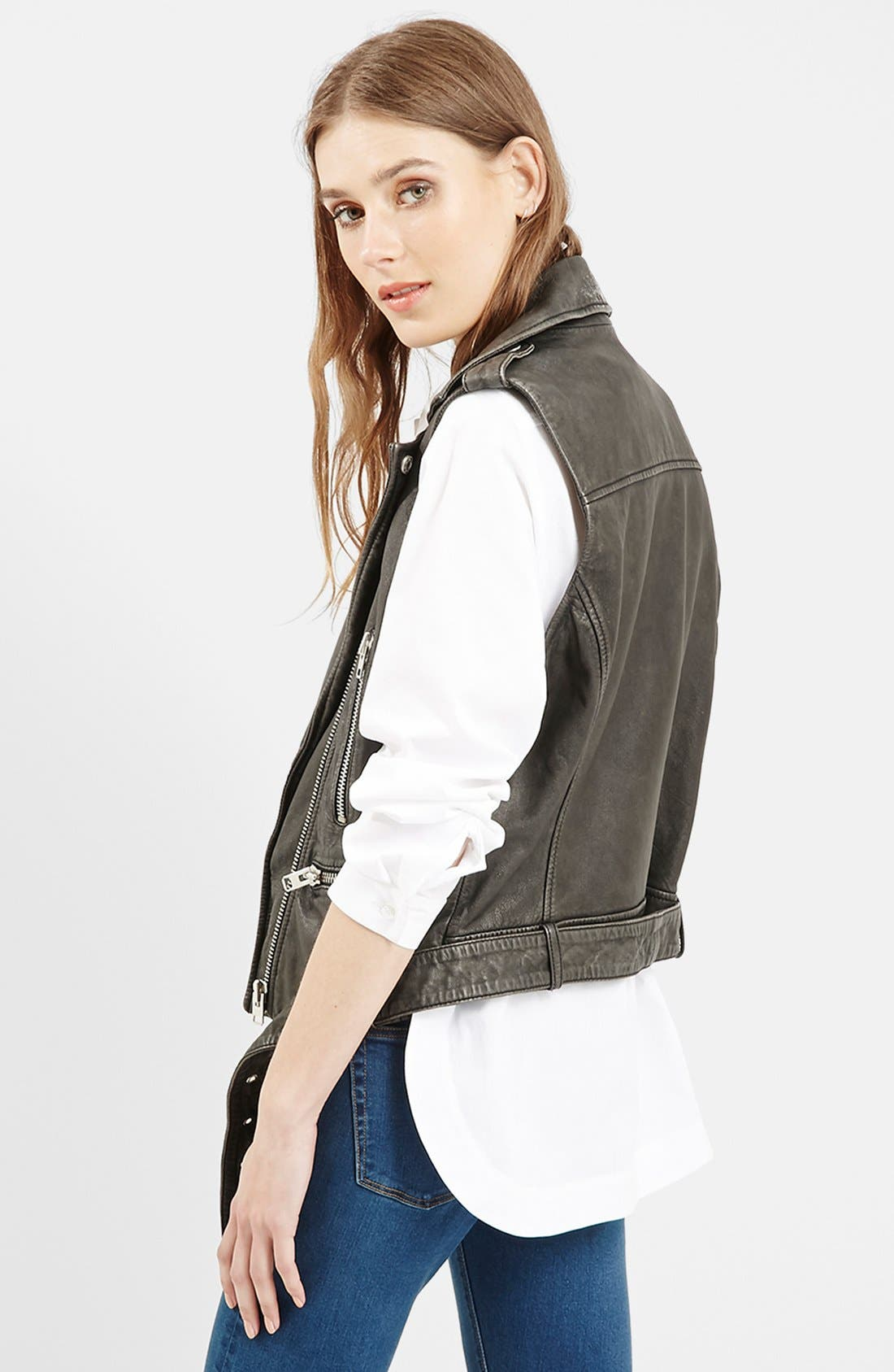 TOPSHOP, 'Sylvia' Leather Biker Vest, Alternate thumbnail 2, color, 001