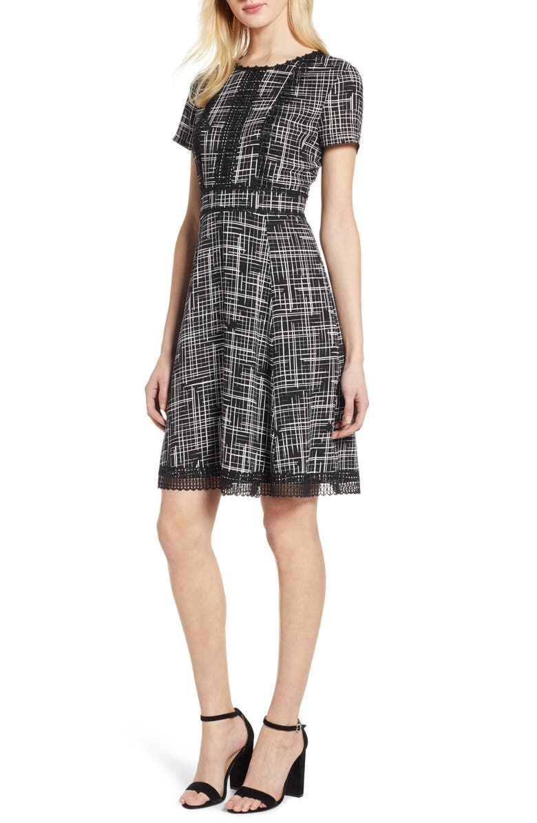 Karl Lagerfeld Dresses LACE DETAIL FIT & FLARE DRESS