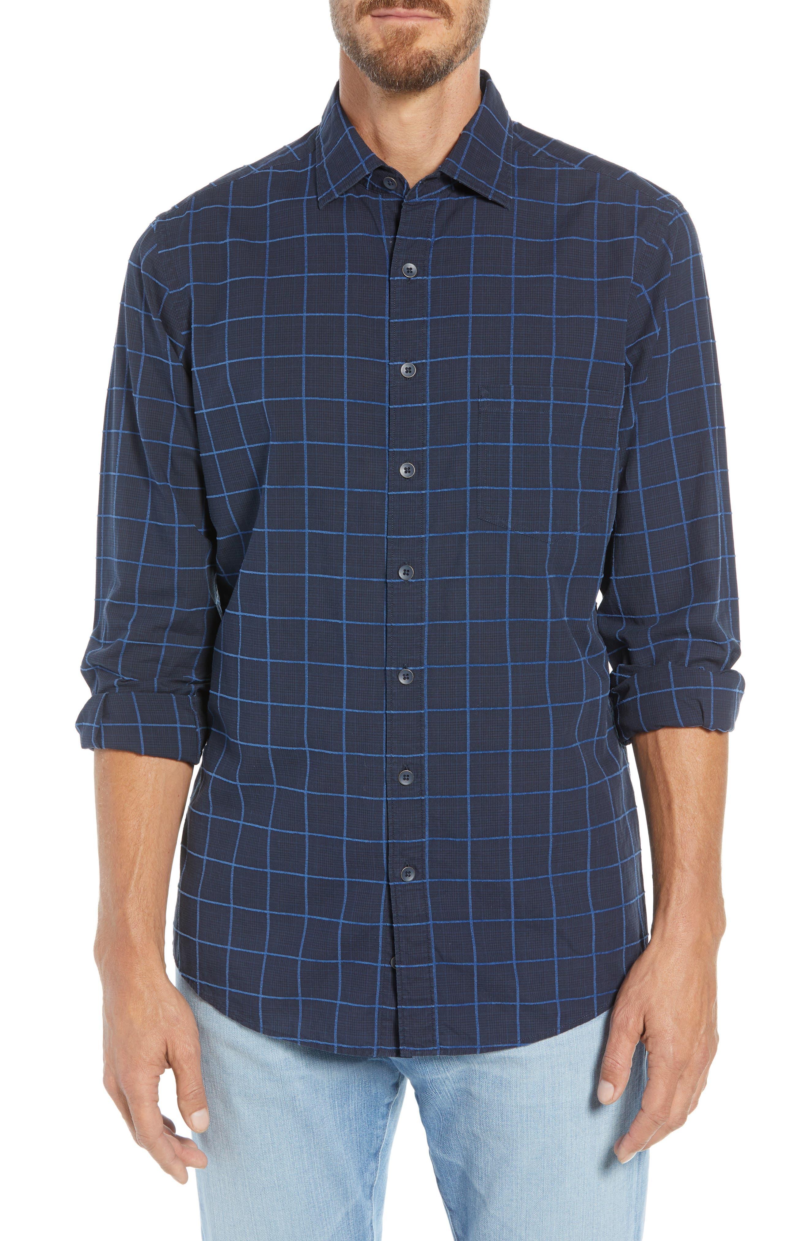 RODD & GUNN, Hindley Creek Regular Fit Sport Shirt, Main thumbnail 1, color, NAVY
